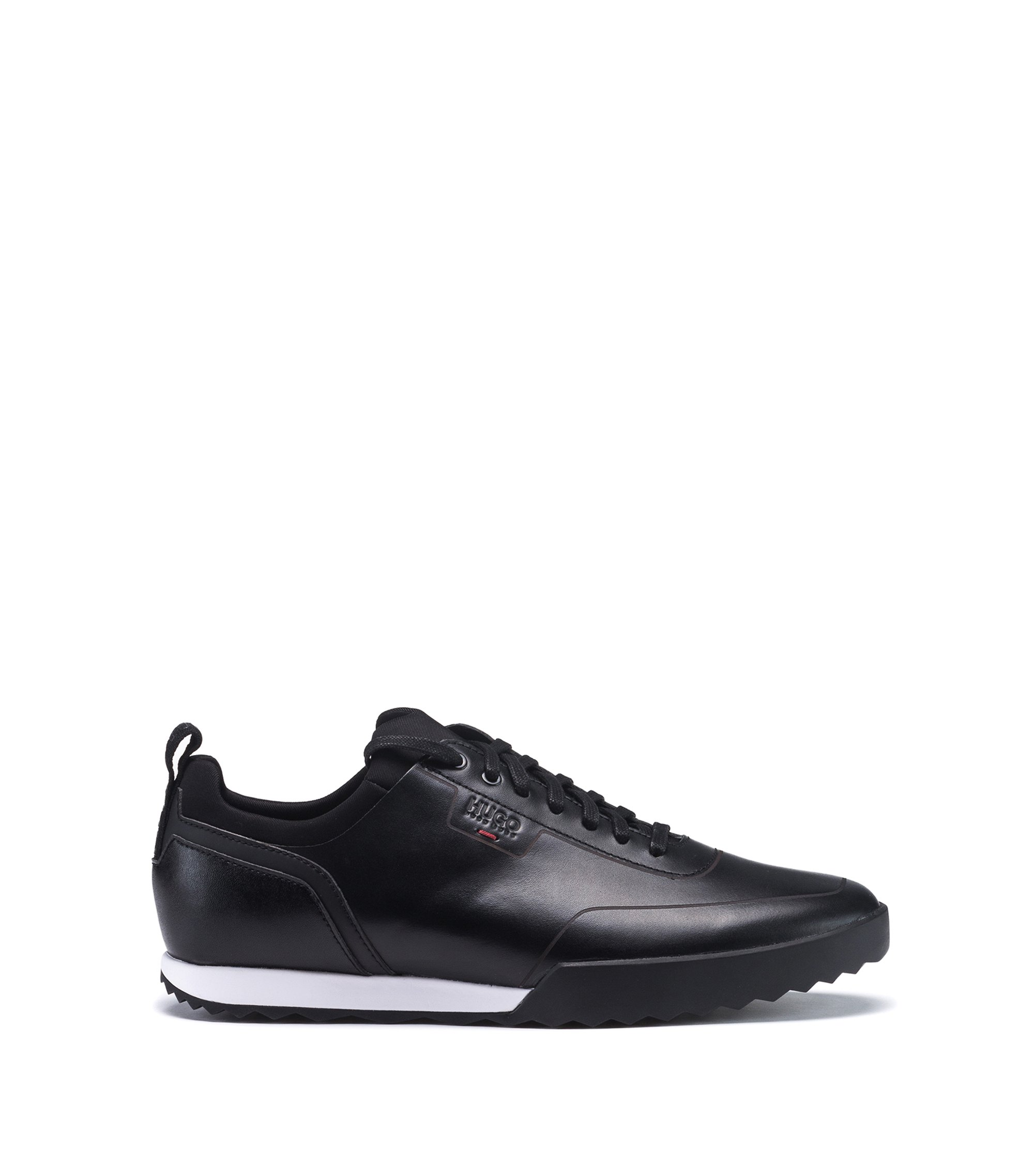 Low-top trainers in smooth leather with lasered details, Black