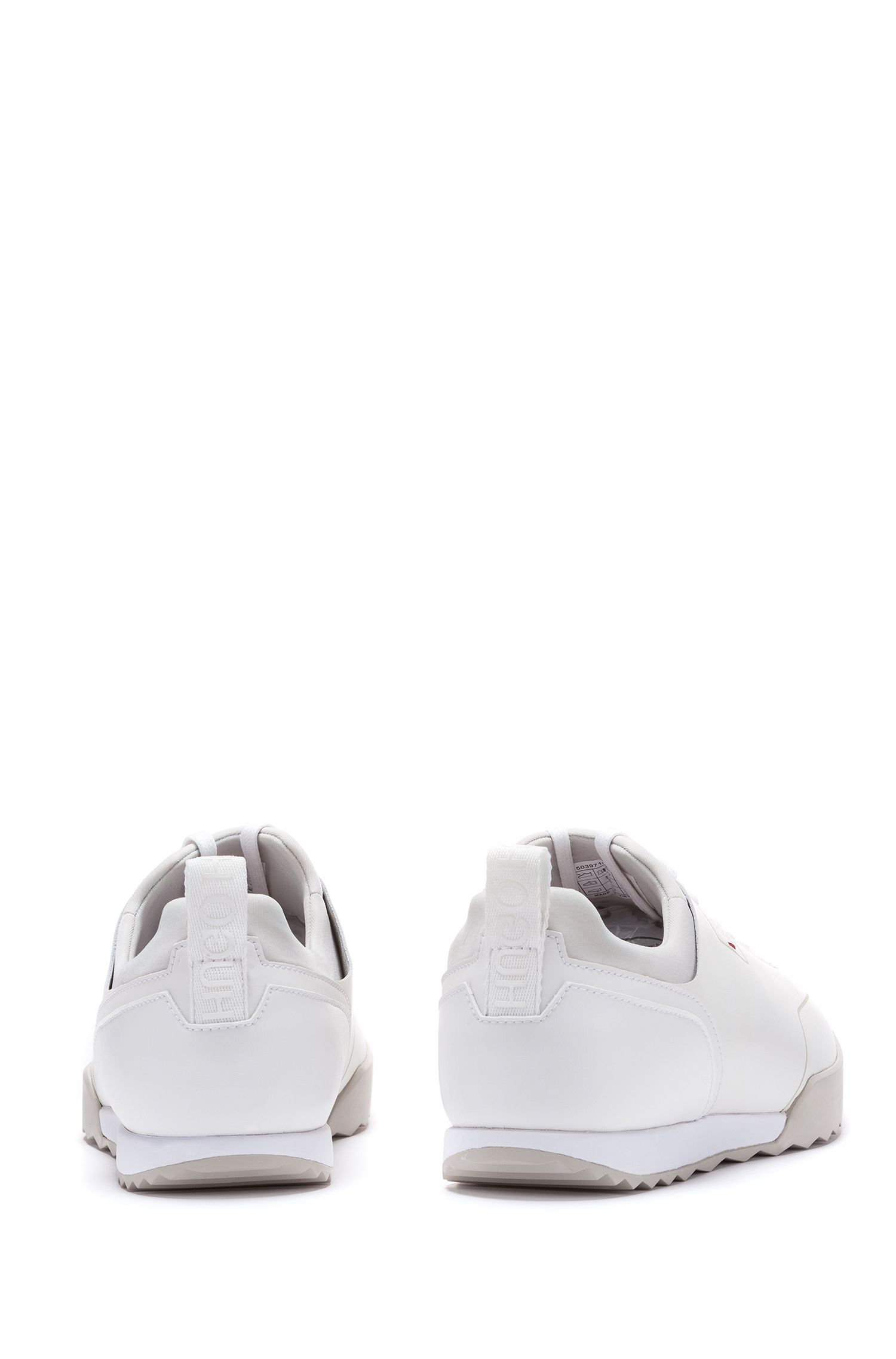 Low-top trainers in smooth leather with lasered details, White
