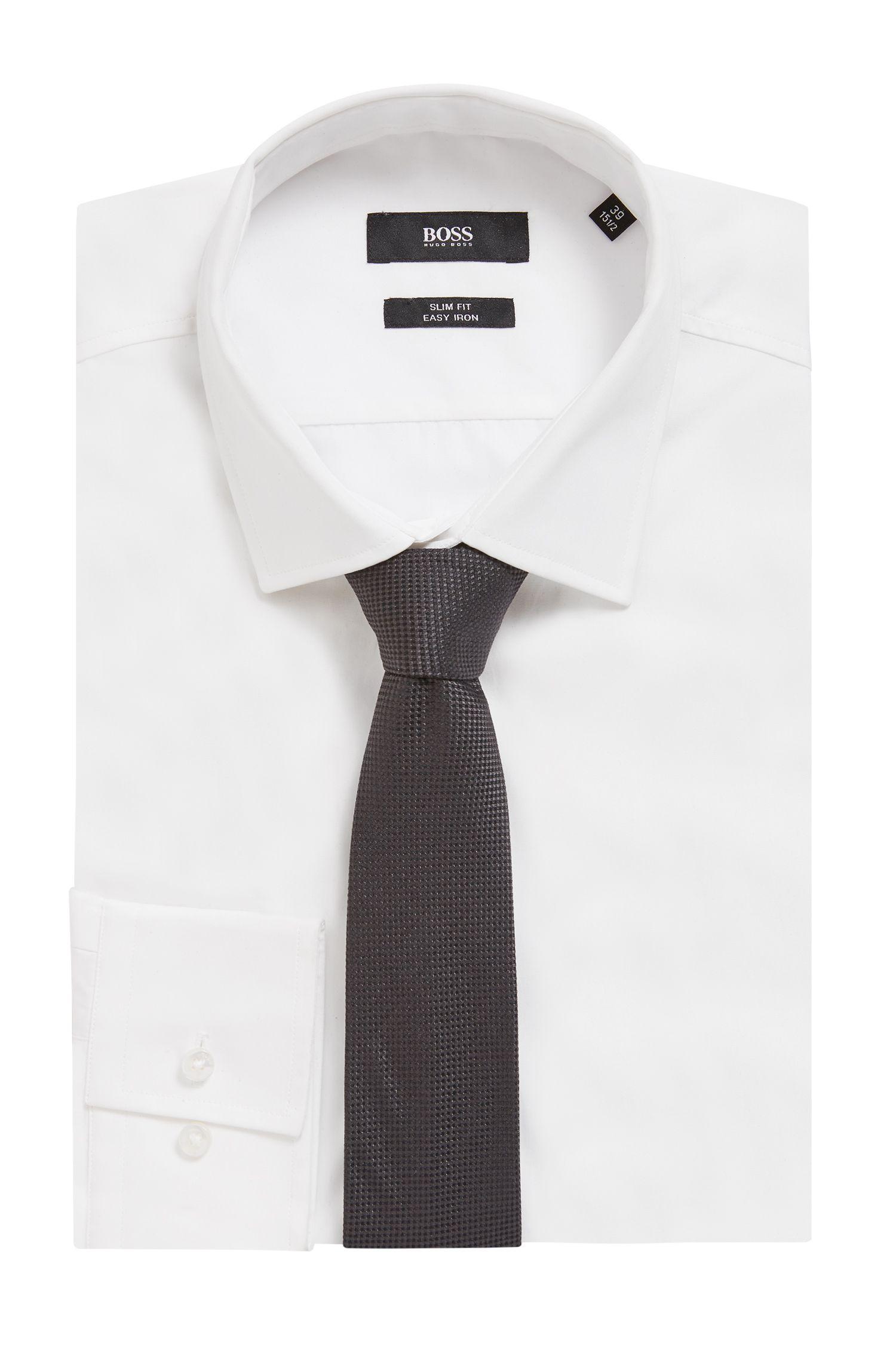 In Italië vervaardigde stropdas in een jacquard van zijde, Donkergrijs