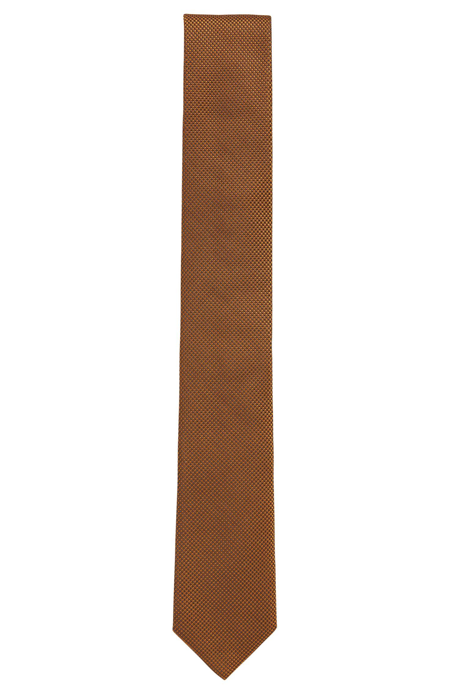 Cravate en jacquard de soie confectionnée en Italie, Jaune foncé