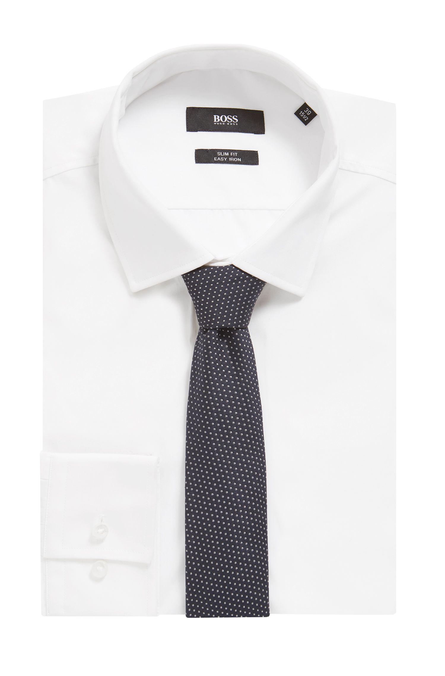 Cravatta in seta jacquard con micropois realizzata in Italia, Celeste