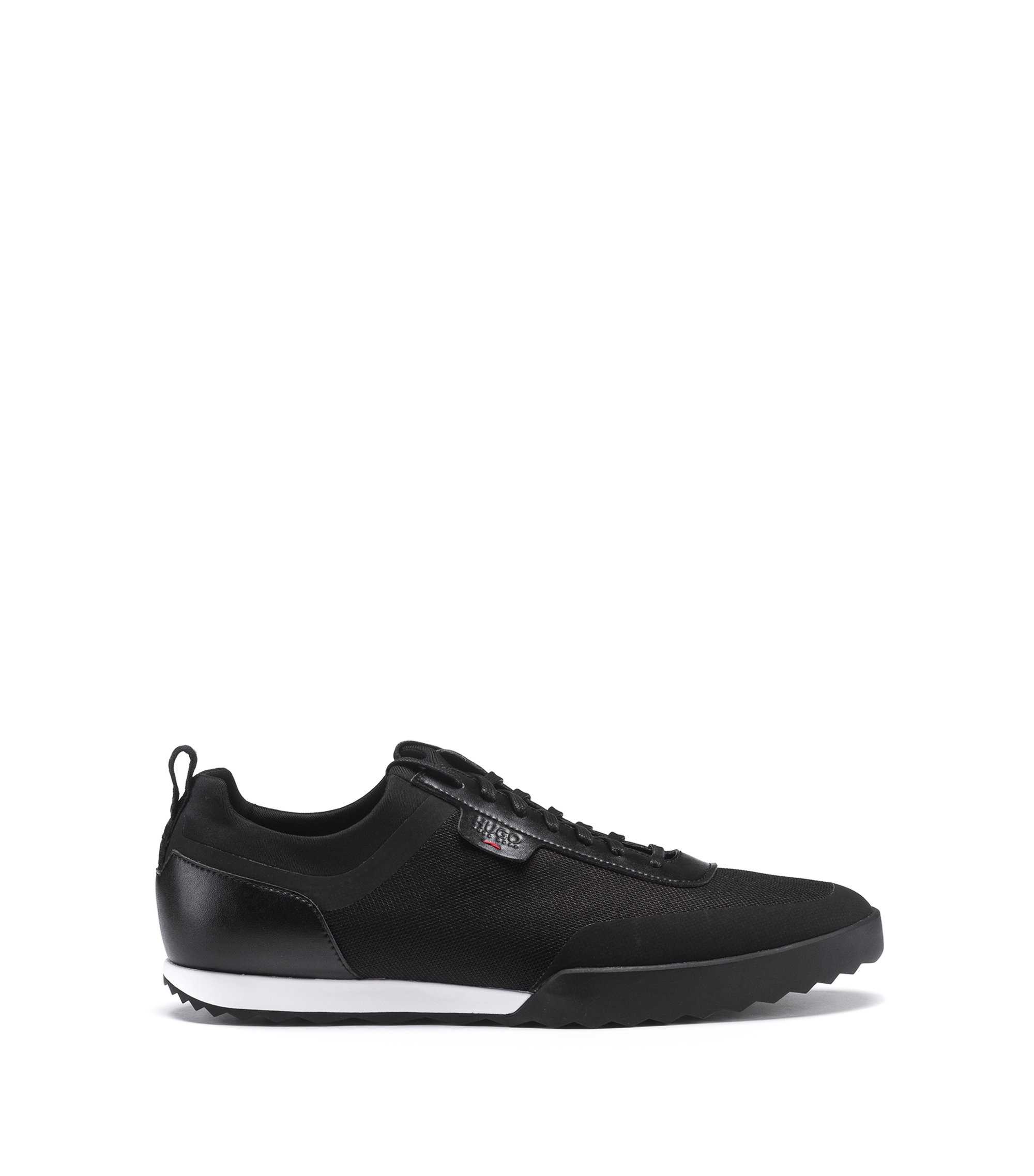 Lowtop Sneakers aus Material-Mix, Schwarz