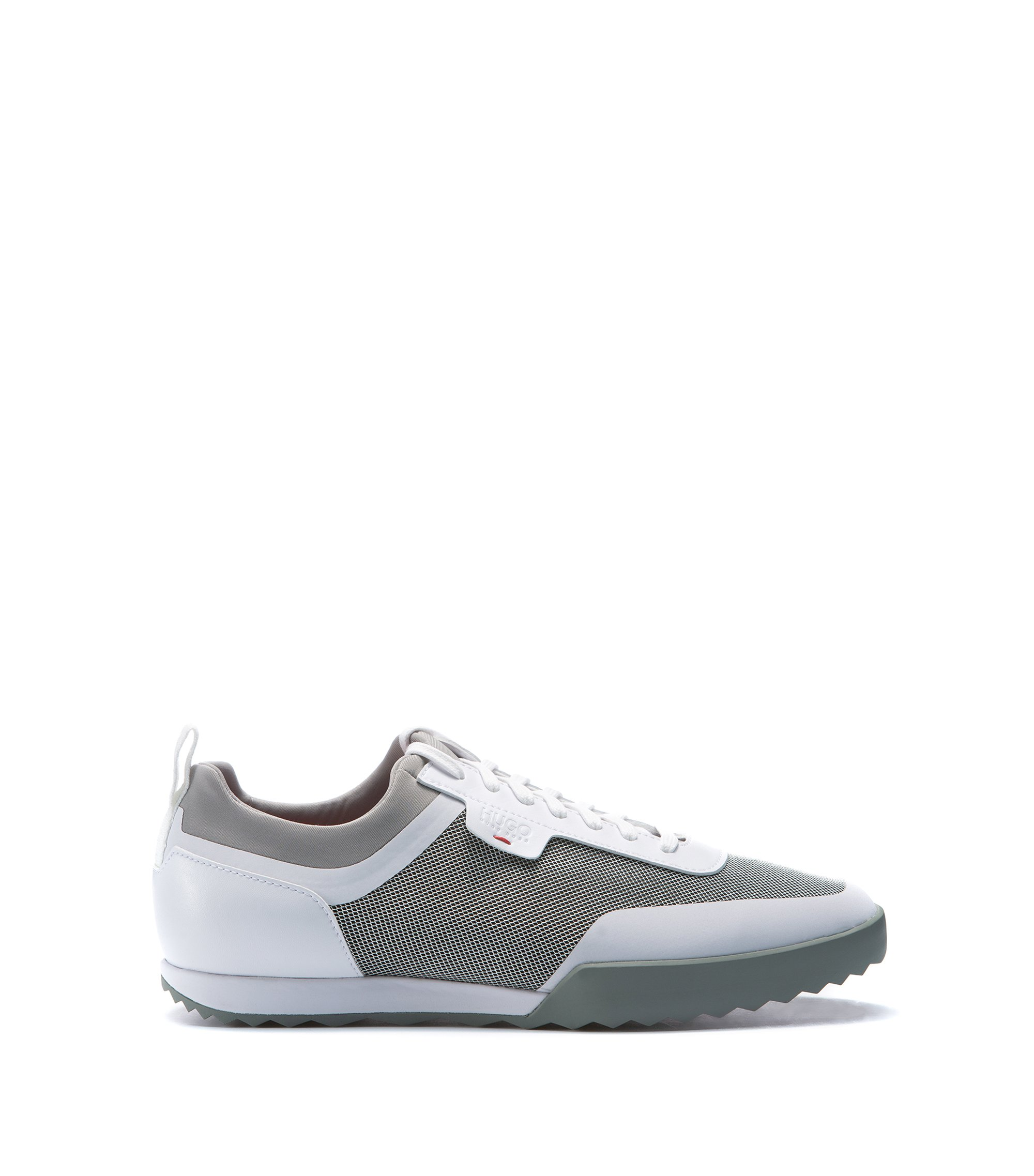 Sneakers low-top in tessuto tecnico misto, Bianco