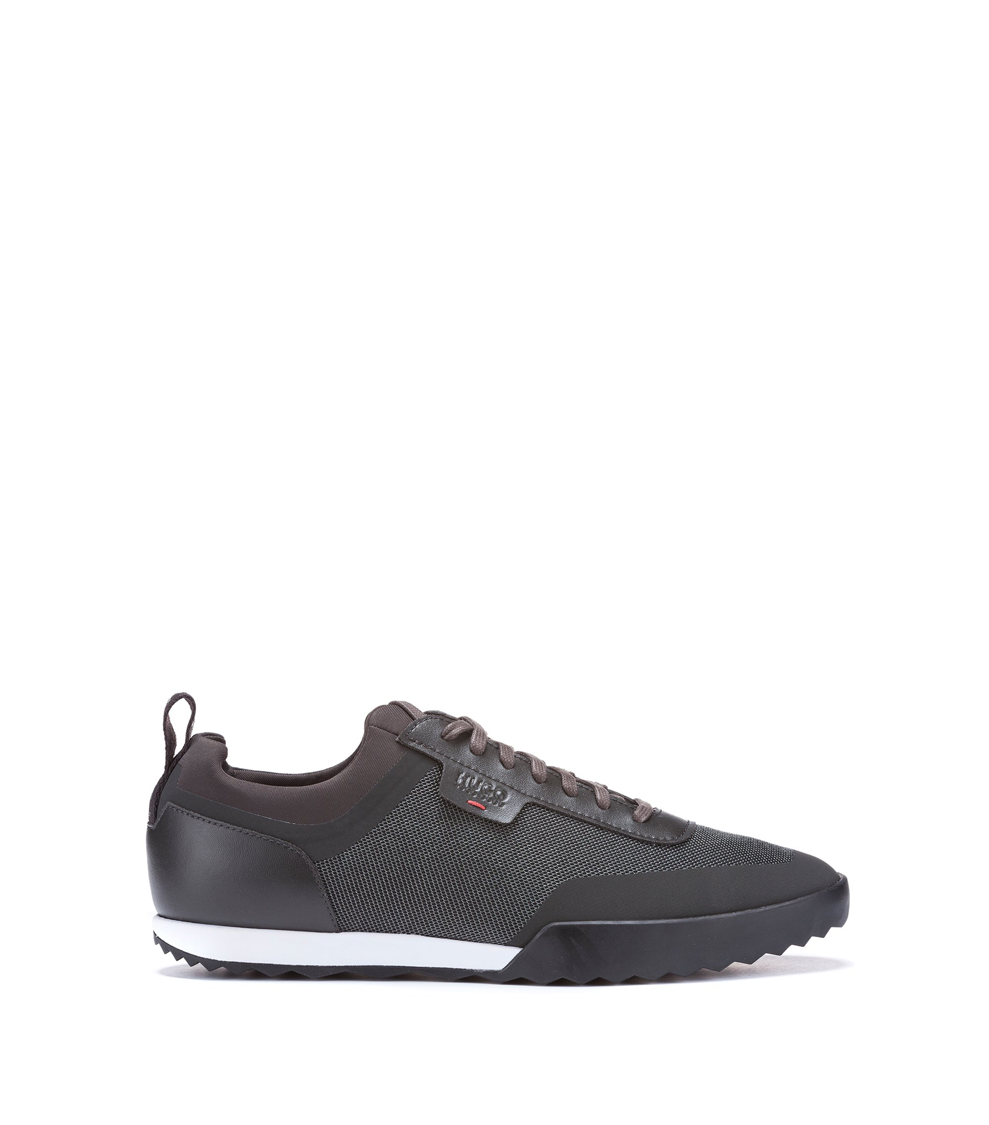Low-top trainers in a technical fabric mix, Dark Green
