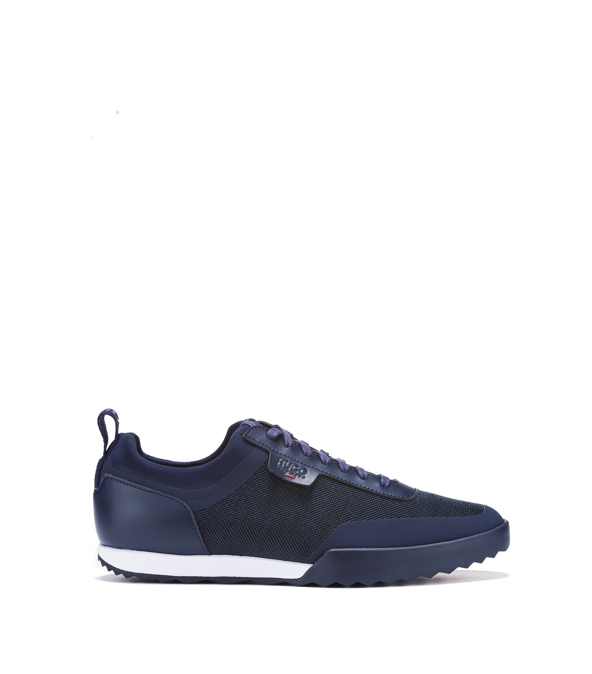 Sneakers low-top in tessuto tecnico misto, Blu scuro