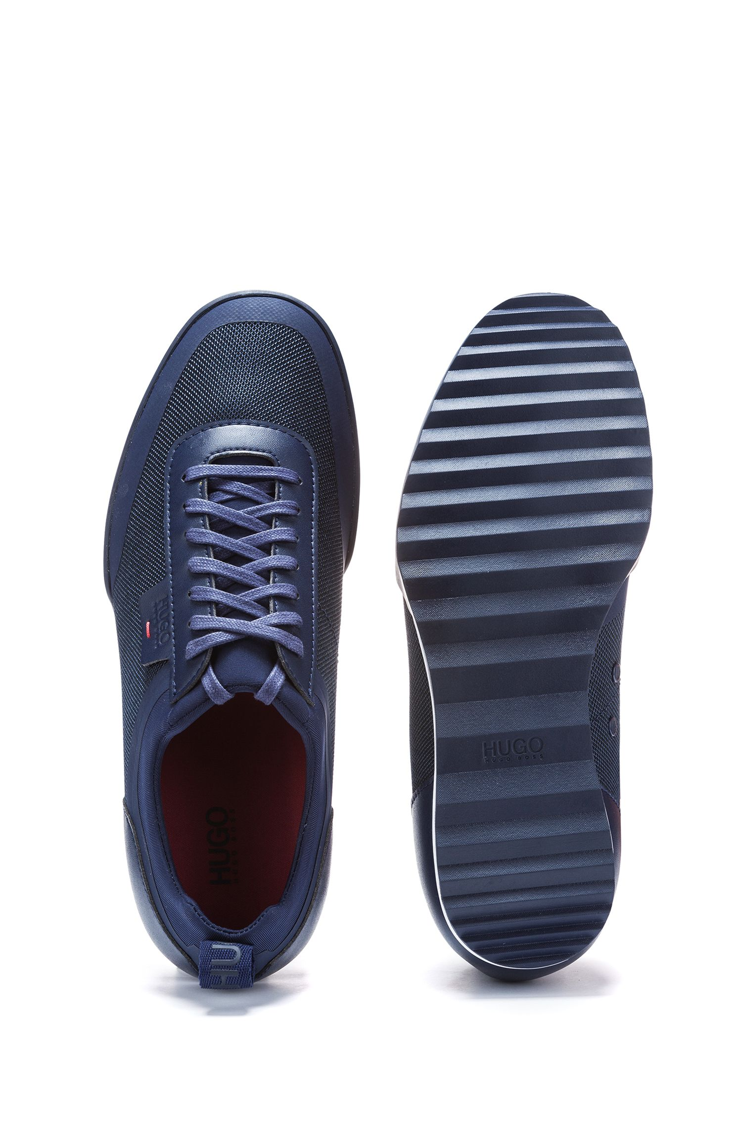 Lowtop Sneakers aus Material-Mix, Dunkelblau
