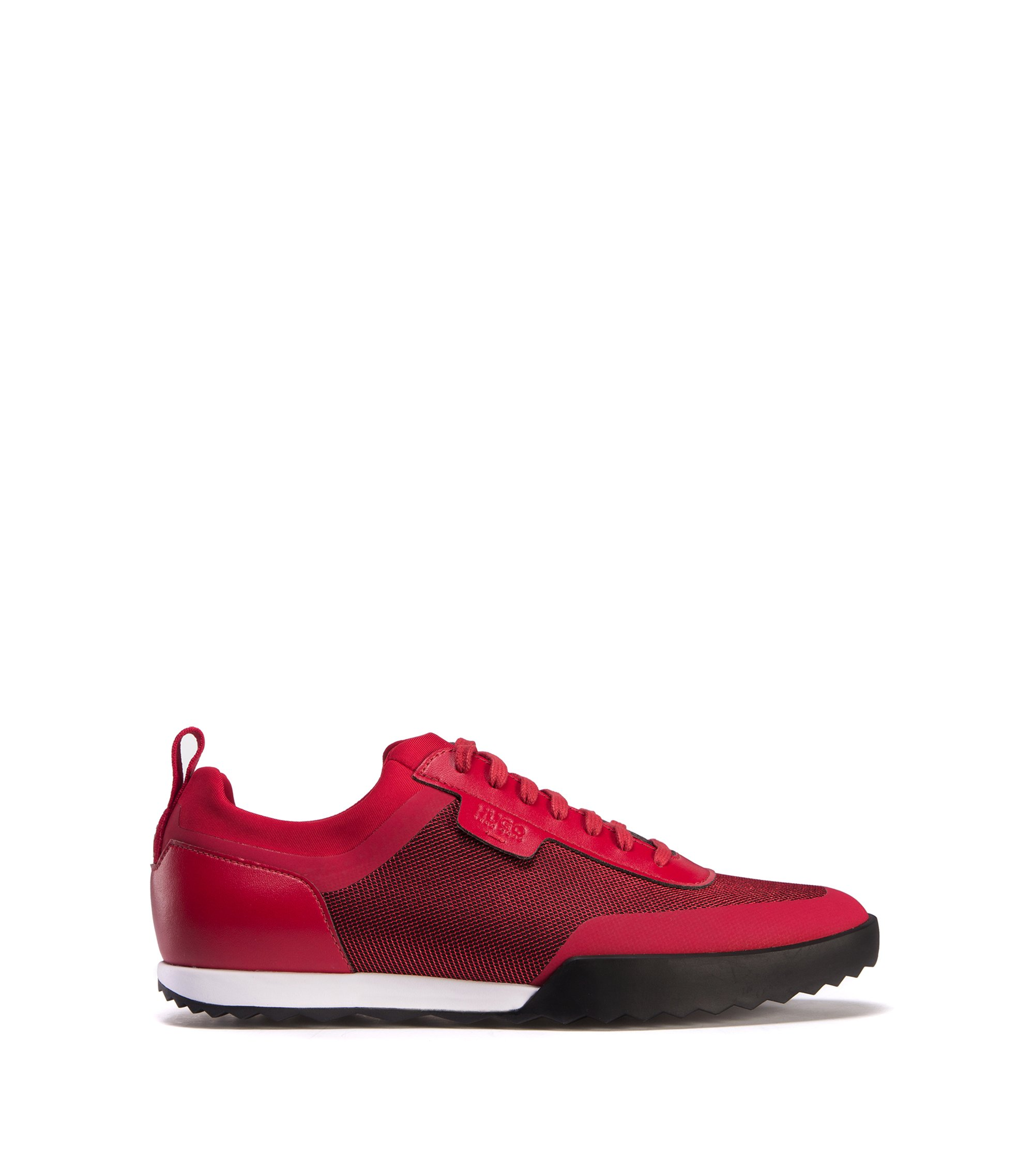 Low-top trainers in a technical fabric mix, Dark Red