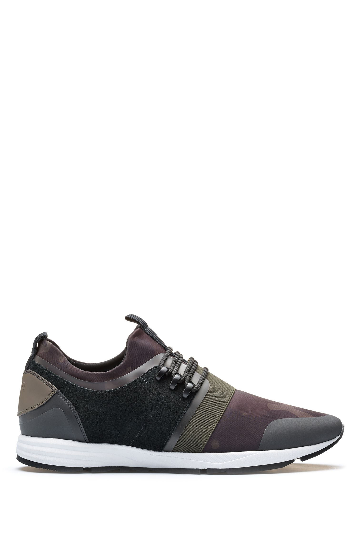 Hybrid trainers with camouflage-print neoprene sock, Dark Green