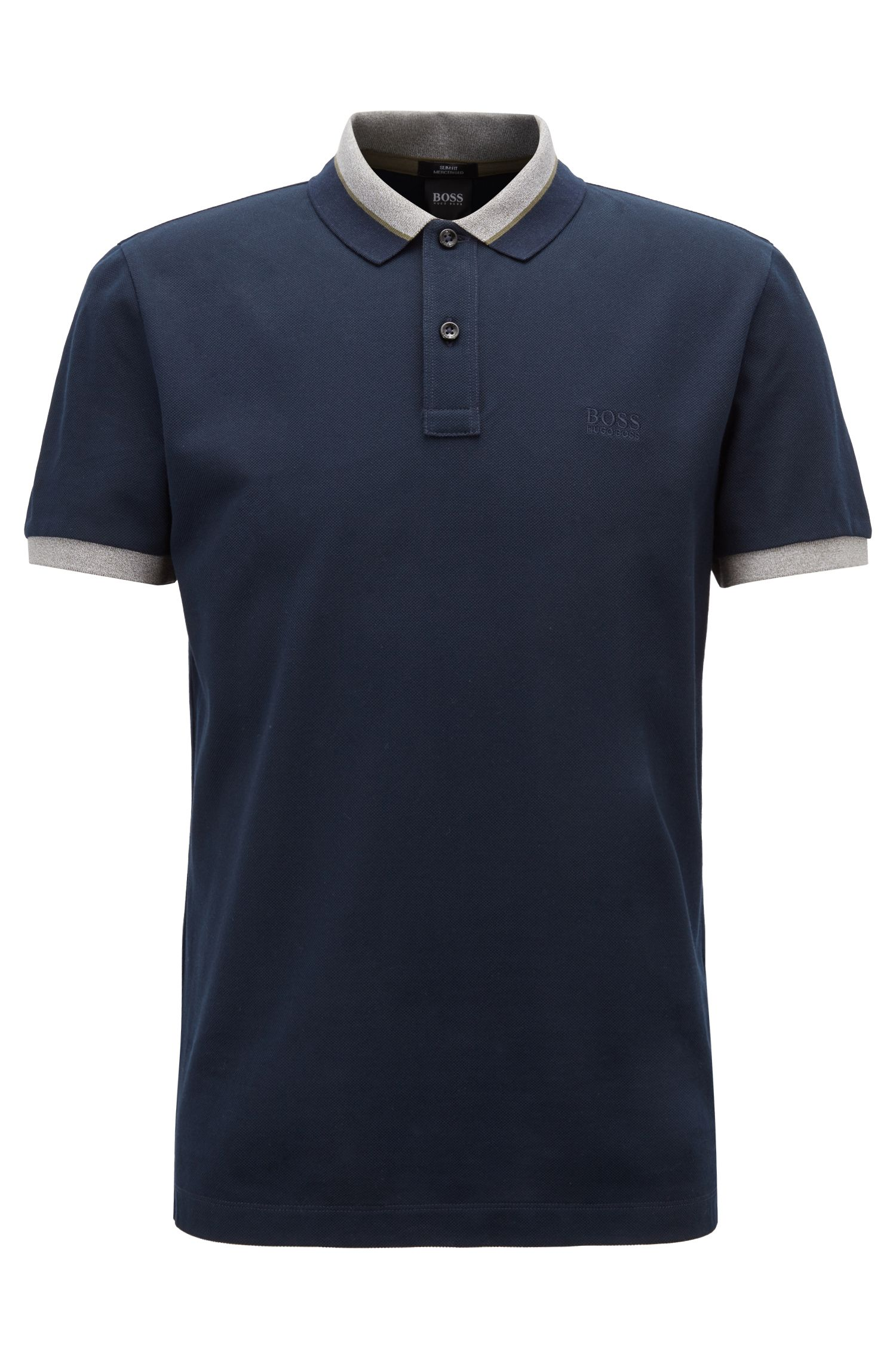 Poloshirt aus Baumwolle mit kontrastfarbenem Mouliné-Kragen, Dunkelblau