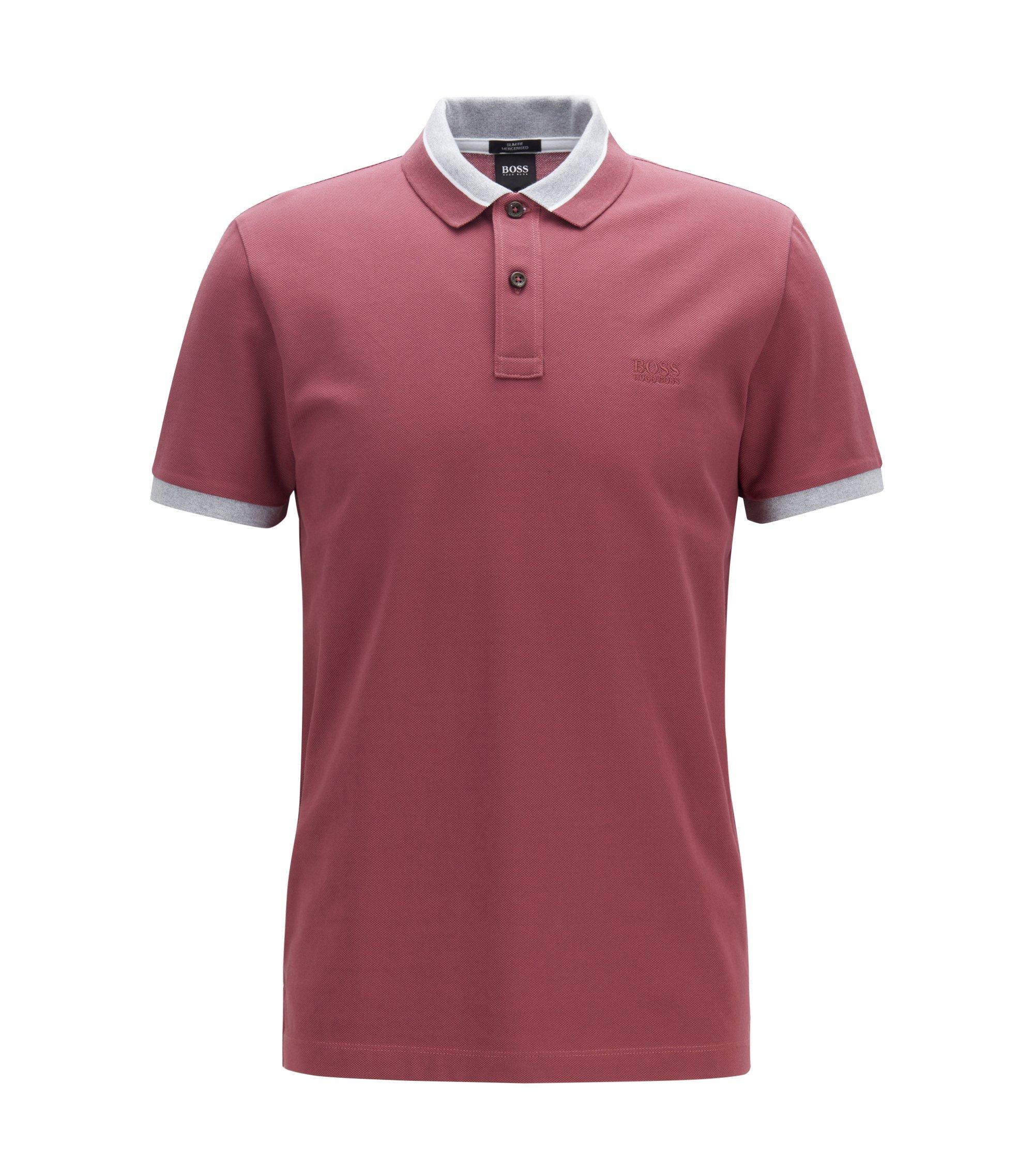 Slim-fit polo shirt with contrast mouliné collar, Open Purple