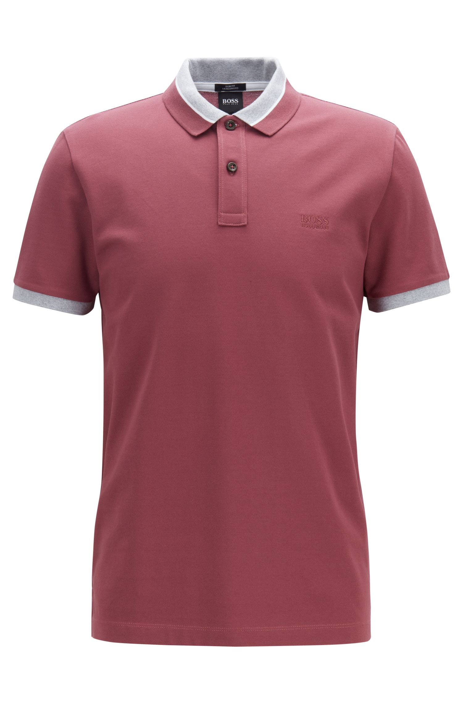 Slim-fit polo shirt with contrast mouliné collar, Open Purple