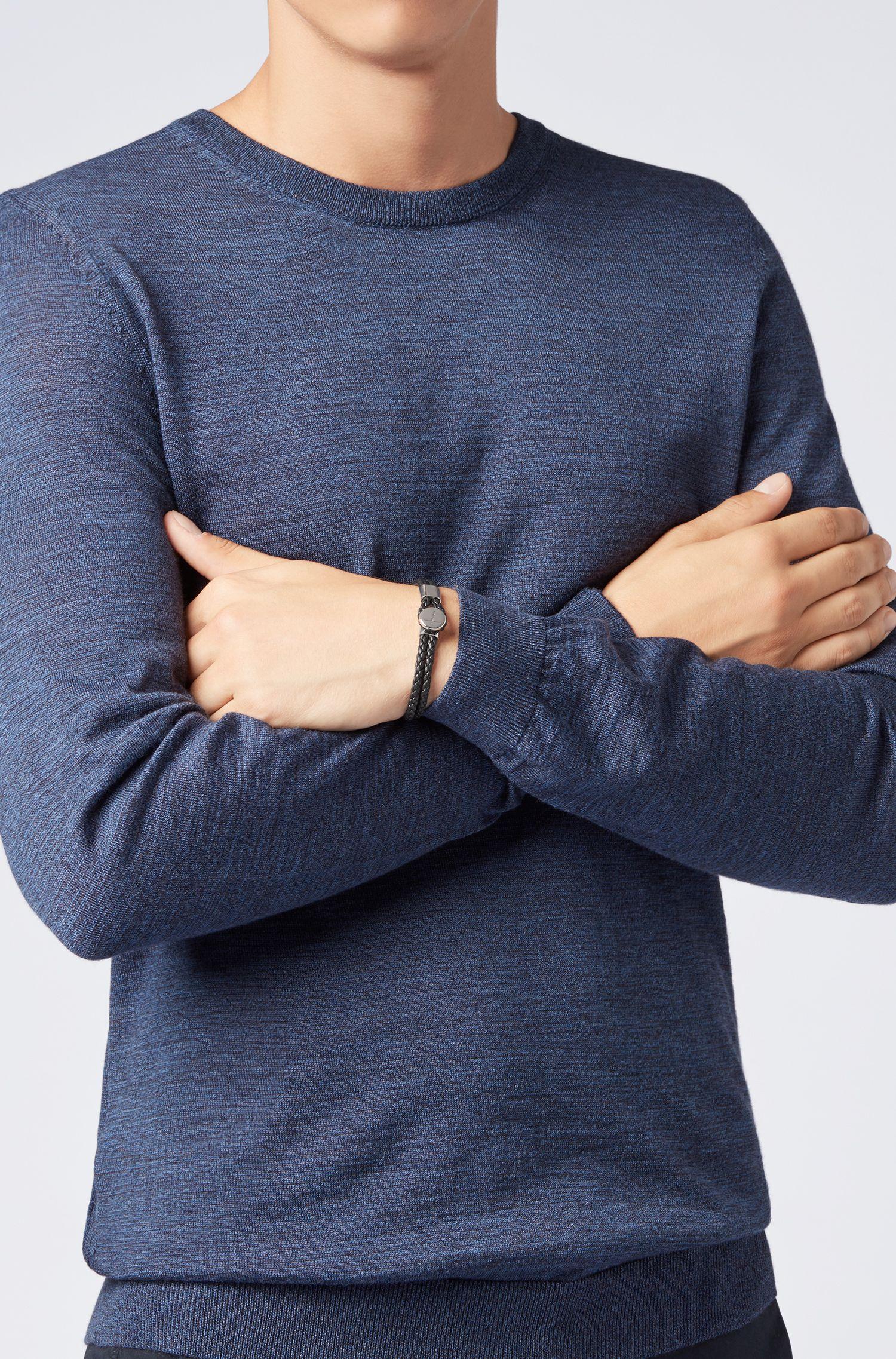 In Italien gefertigtes Doppelarmband aus geflochtenem Leder, Schwarz