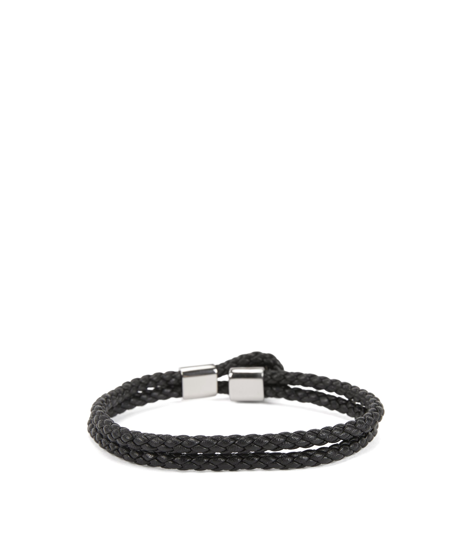 Italian-made double-wrap braided bracelet in calf leather, Black