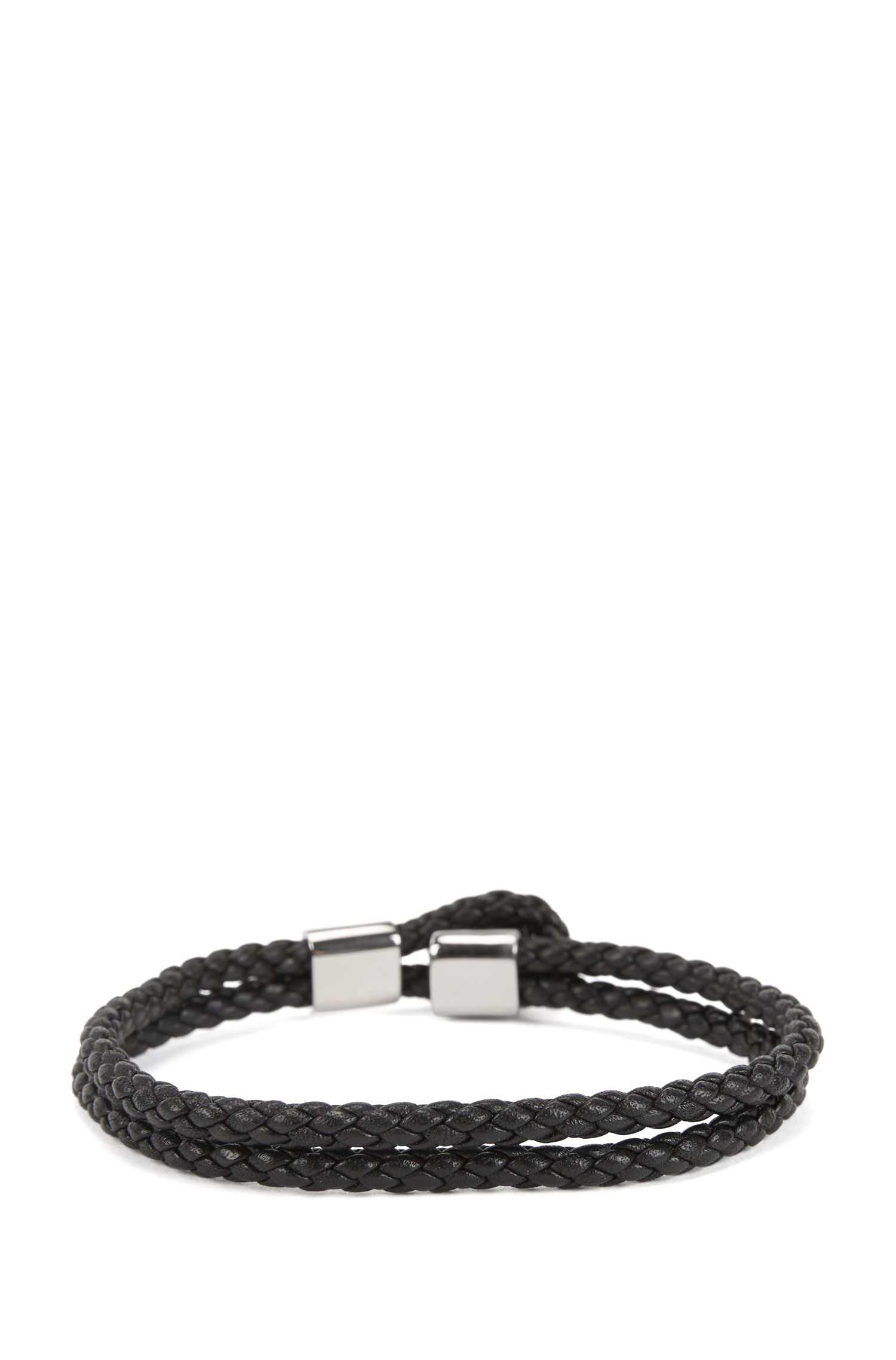 Italian-made double-wrap braided bracelet in calf leather