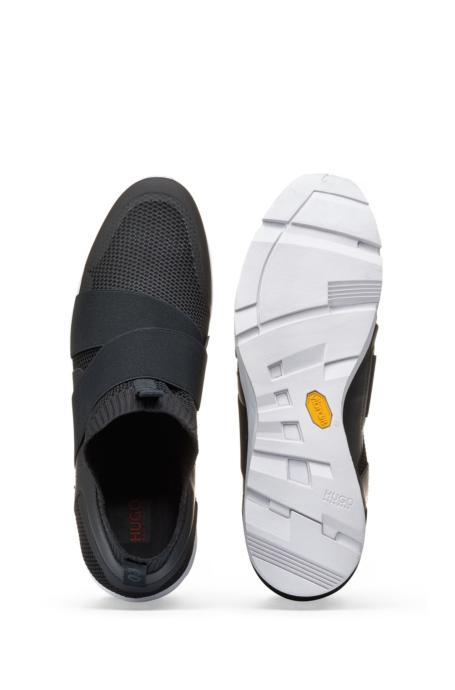 Sneakers slip-on ibride con suola Vibram, Nero
