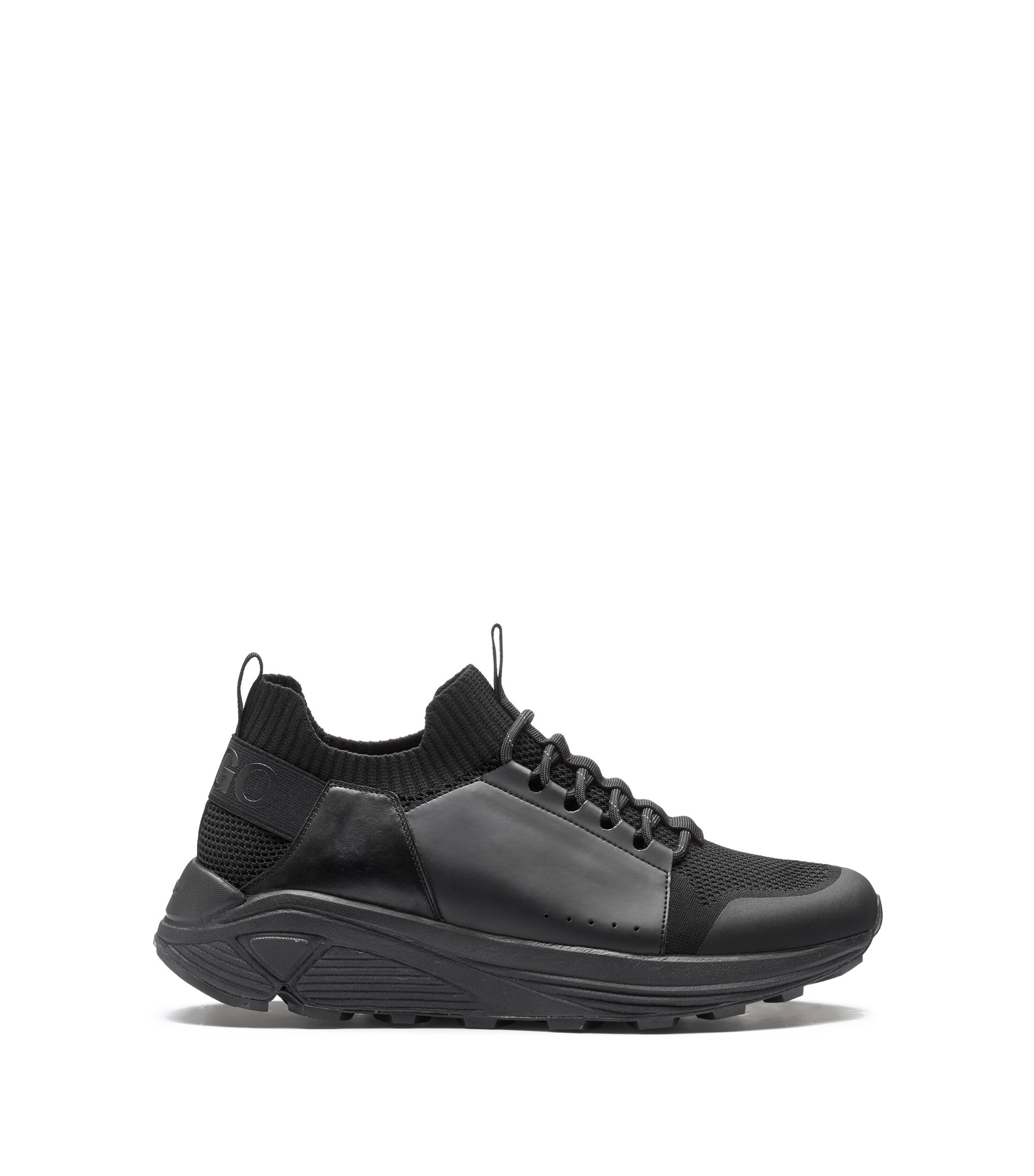Modern lace-up trainers with thick Vibram sole, Black