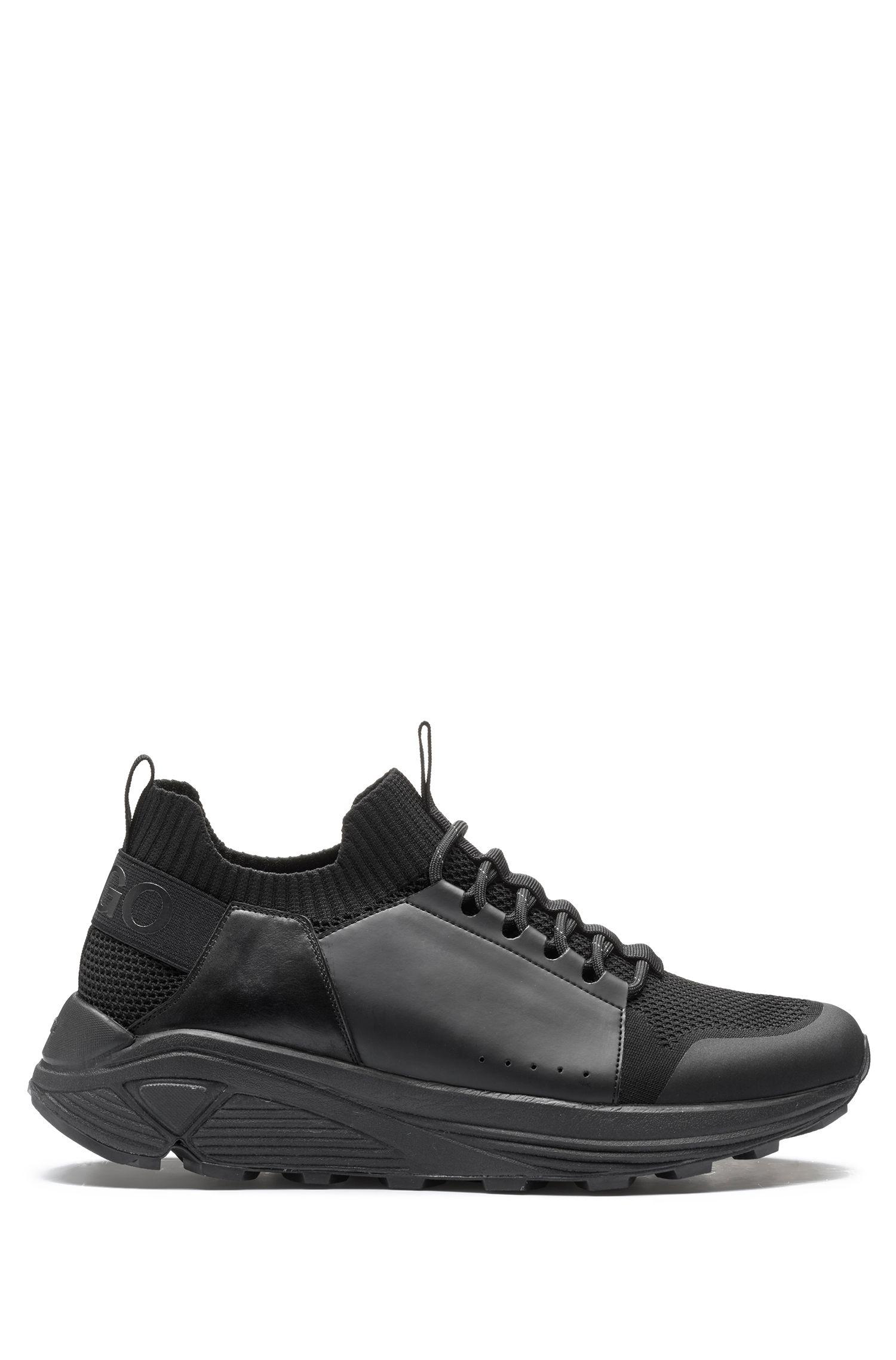 Baskets à lacets modernes avec semelle Vibram épaisse, Noir