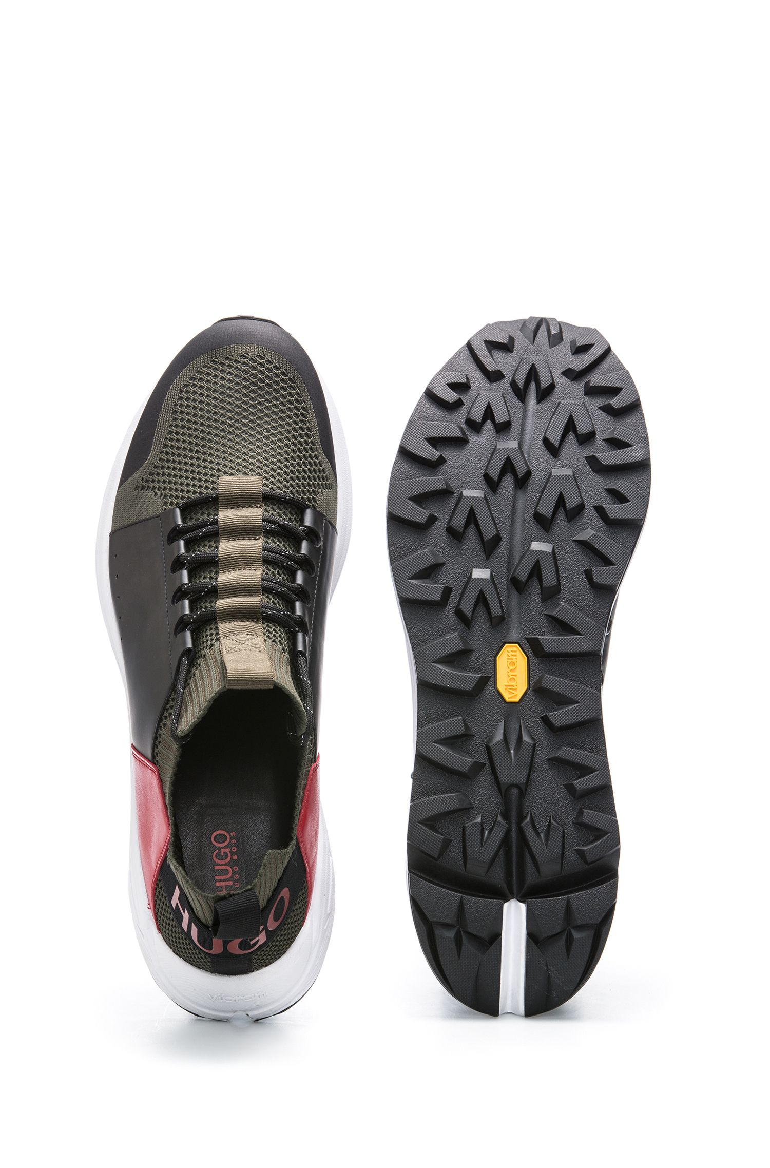 Modern lace-up trainers with thick Vibram sole, Green