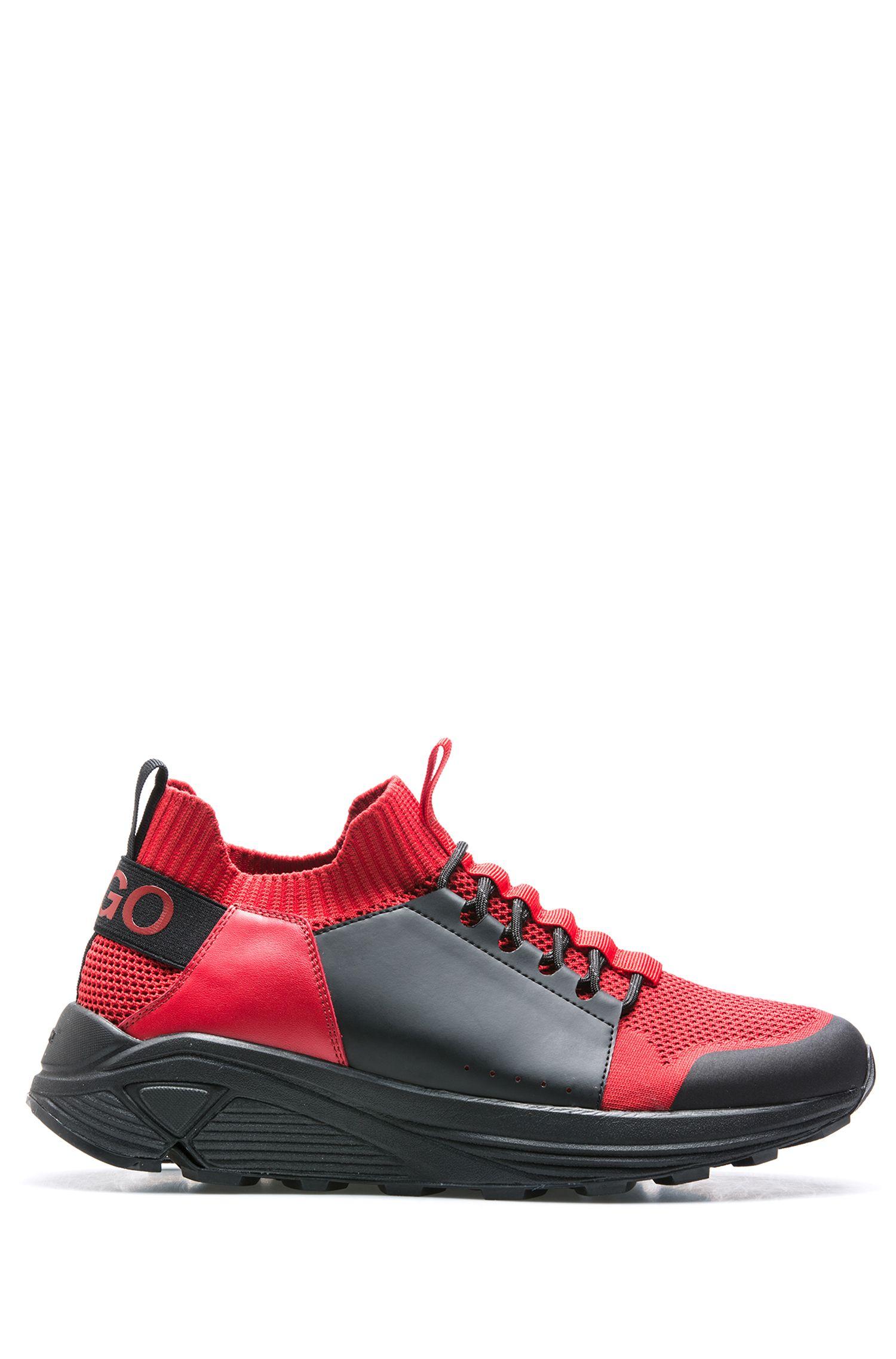 Baskets à lacets modernes avec semelle Vibram épaisse, Rouge sombre