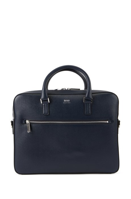 Signature Collection document case in printed Italian calf leather, Dark Blue