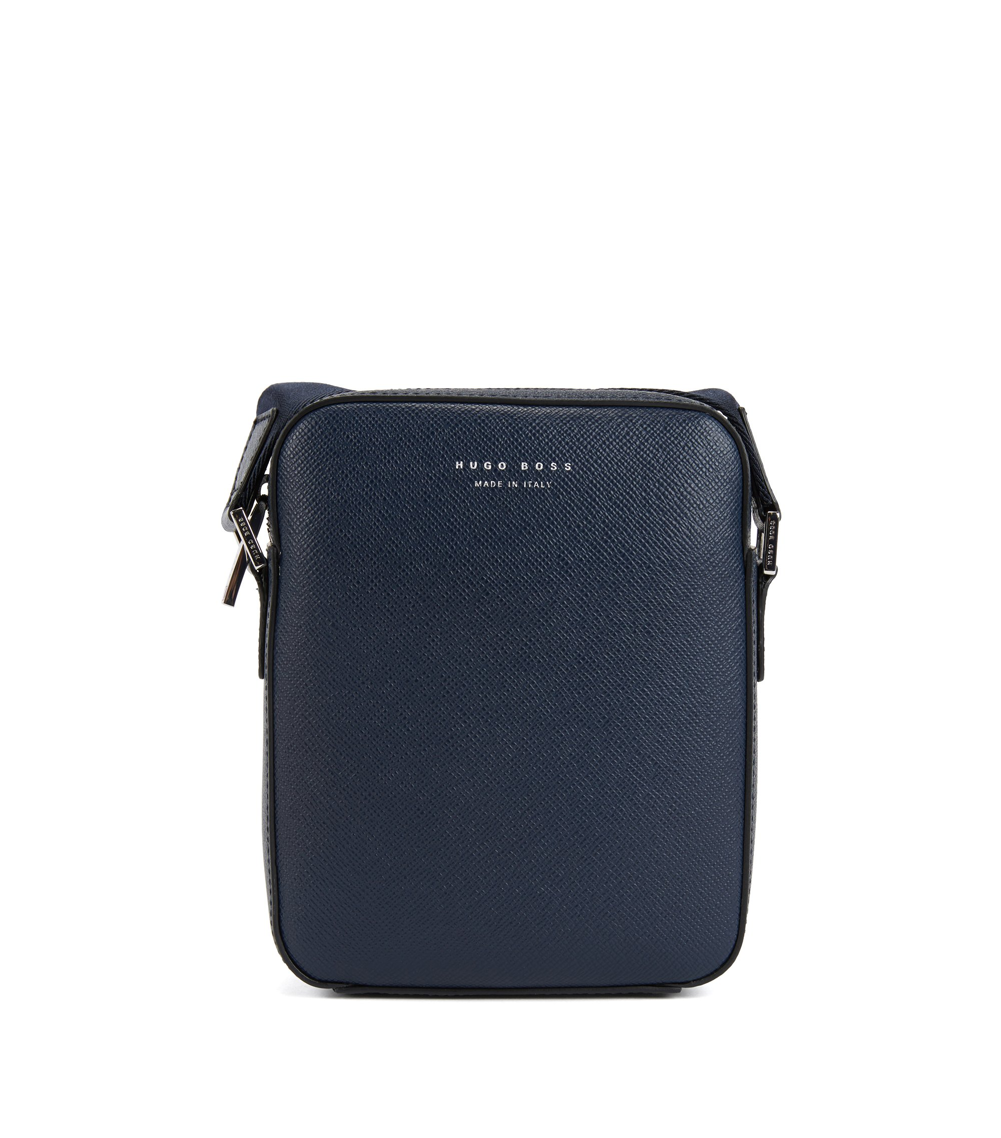 Signature Collection cross-body bag in structured Italian leather, Dark Blue