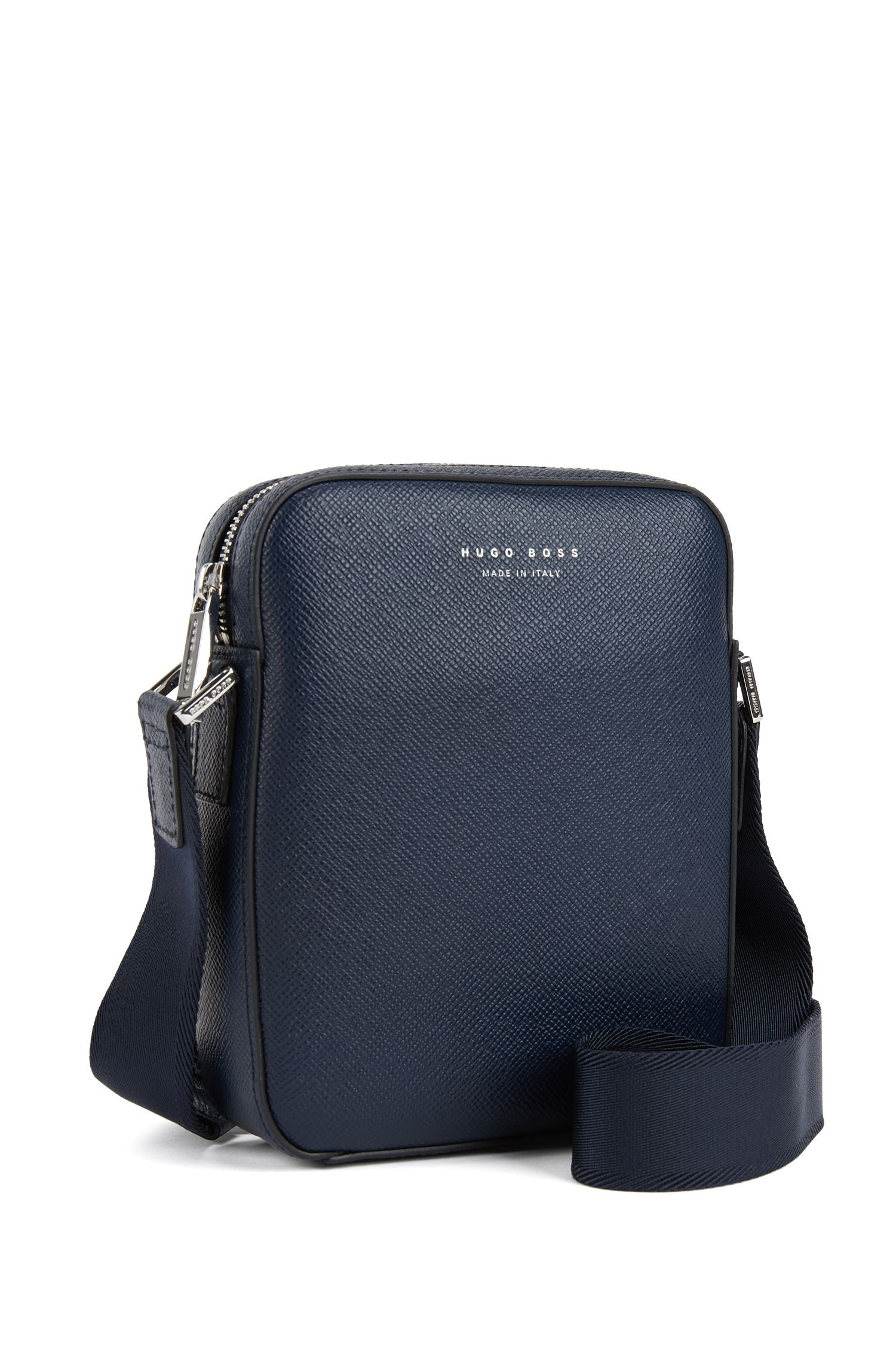 Crossbody-tas van gestructureerd Italiaans leer uit de Signature Collection, Donkerblauw