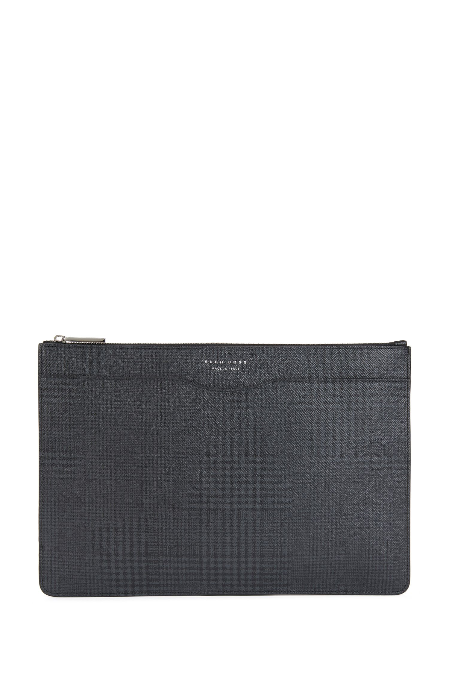 Signature Collection portfolio case in check-print calf leather, Patterned