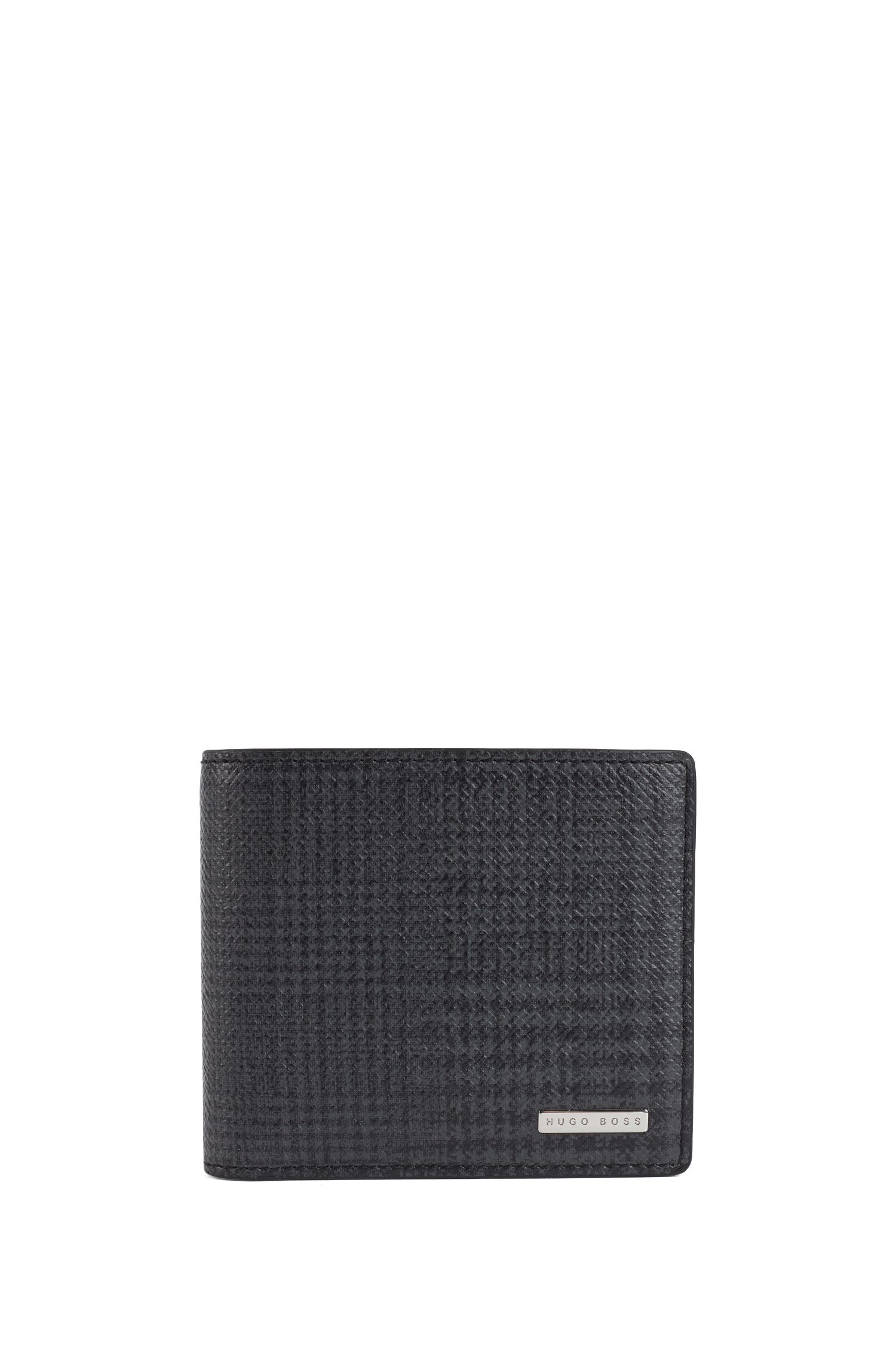 Signature Collection billfold wallet in check-print calf leather, Patterned