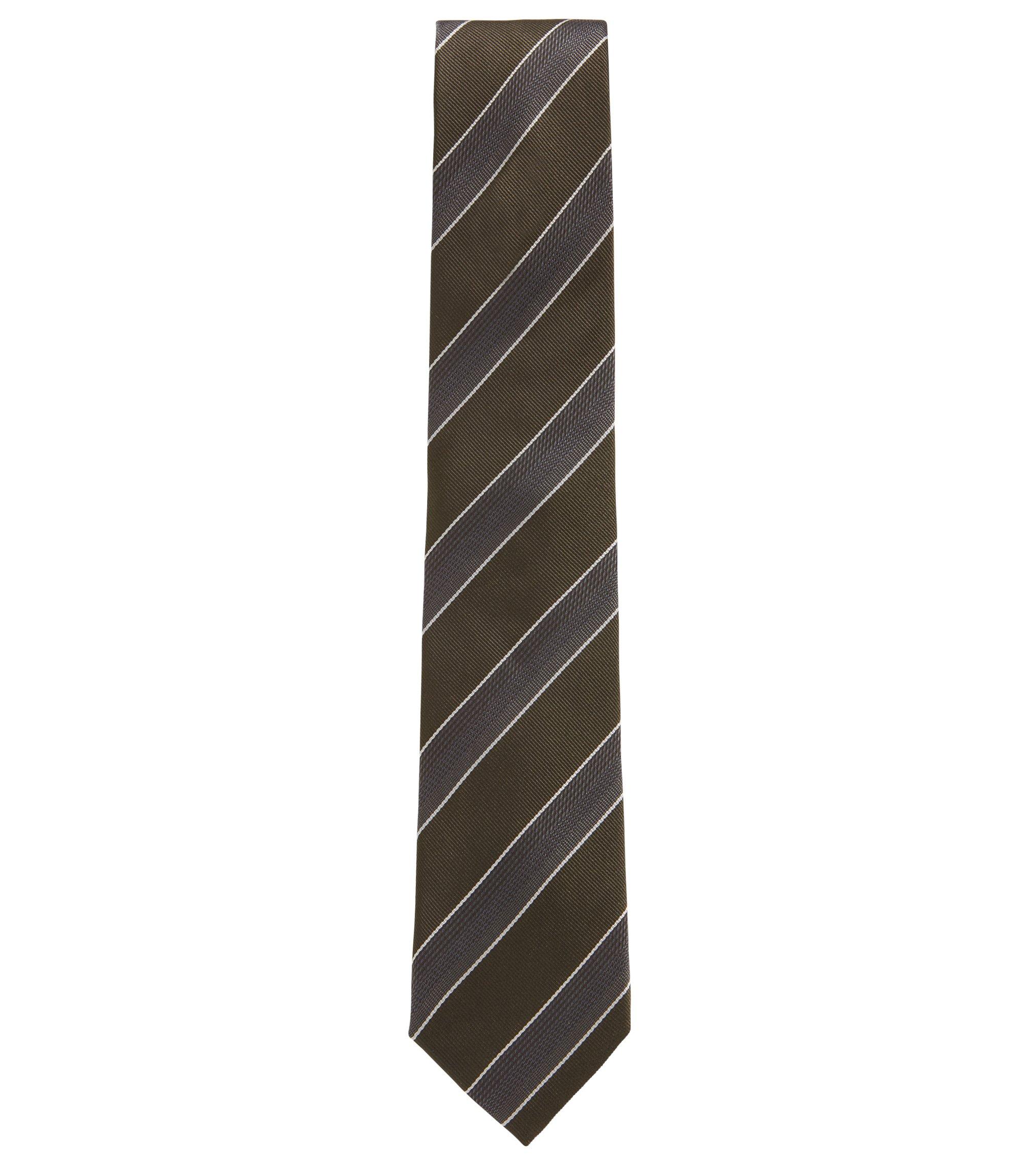 Corbata de rayas diagonales en tejido jacquard de seda con textura, Verde oscuro