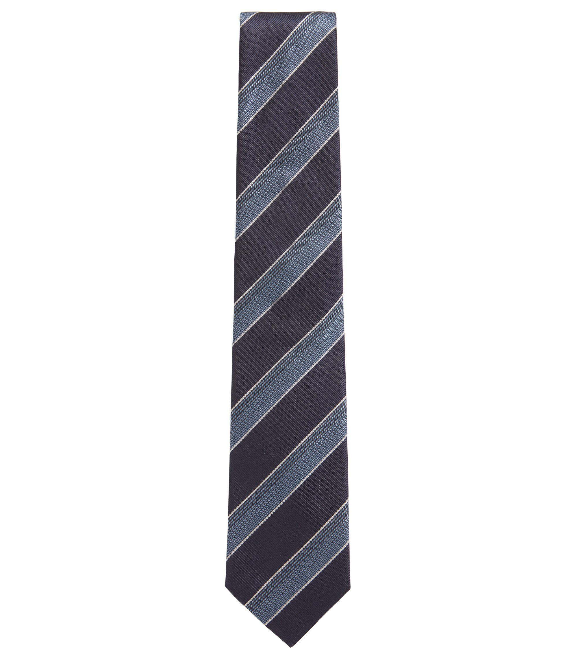 Silk jacquard tie in textured diagonal stripes, Open Blue