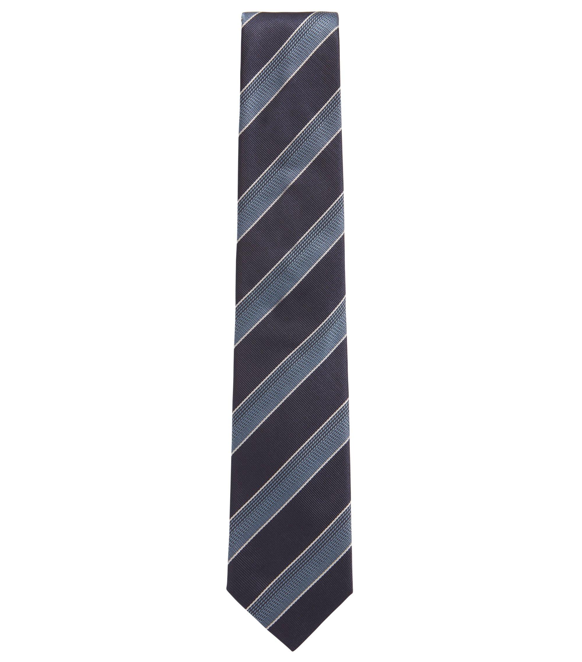 Stropdas in een jacquard van zijde met gestructureerde diagonale strepen, Lichtblauw