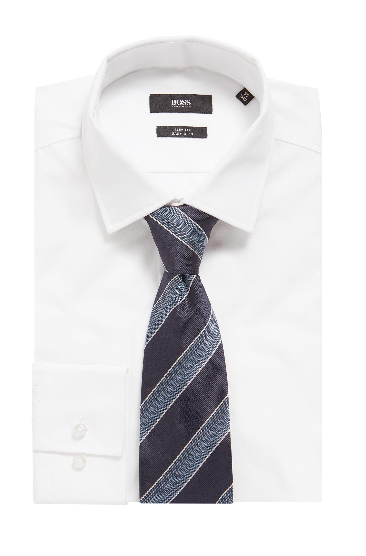 Silk jacquard tie in textured diagonal stripes, Open Blue