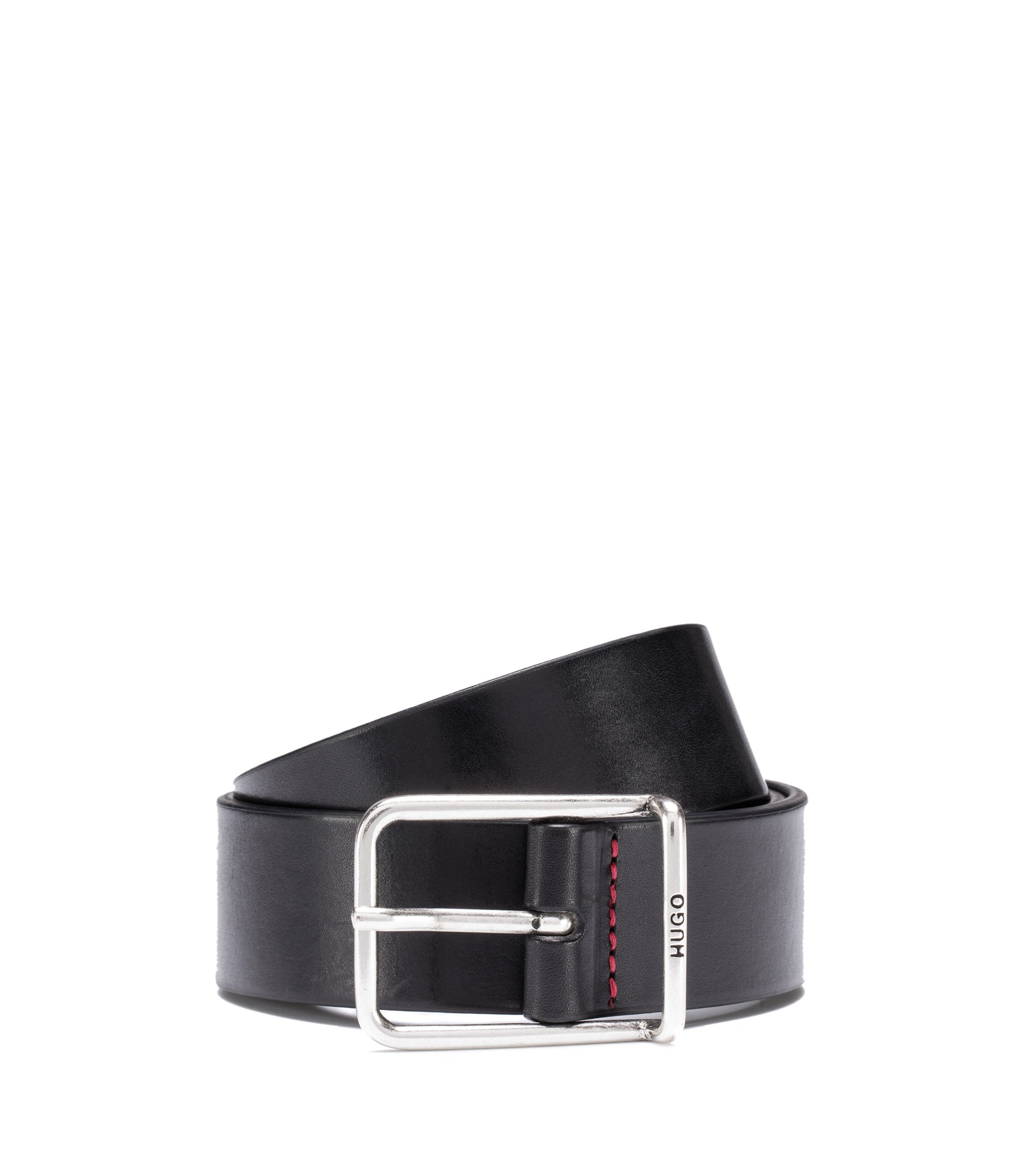 Vegetable-tanned leather belt with rounded silver-tone hardware, Black