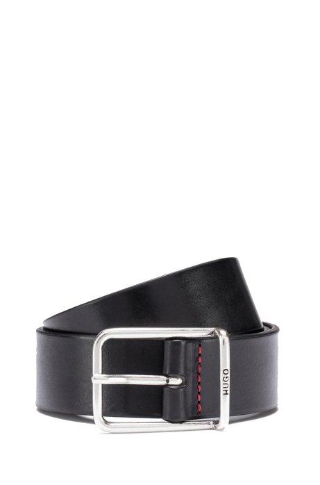 Pflanzlich gegerbter Ledergürtel mit runder Schließe in Silber-Optik, Schwarz