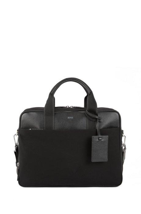 Aktentasche mit Details aus italienischem Leder, Schwarz