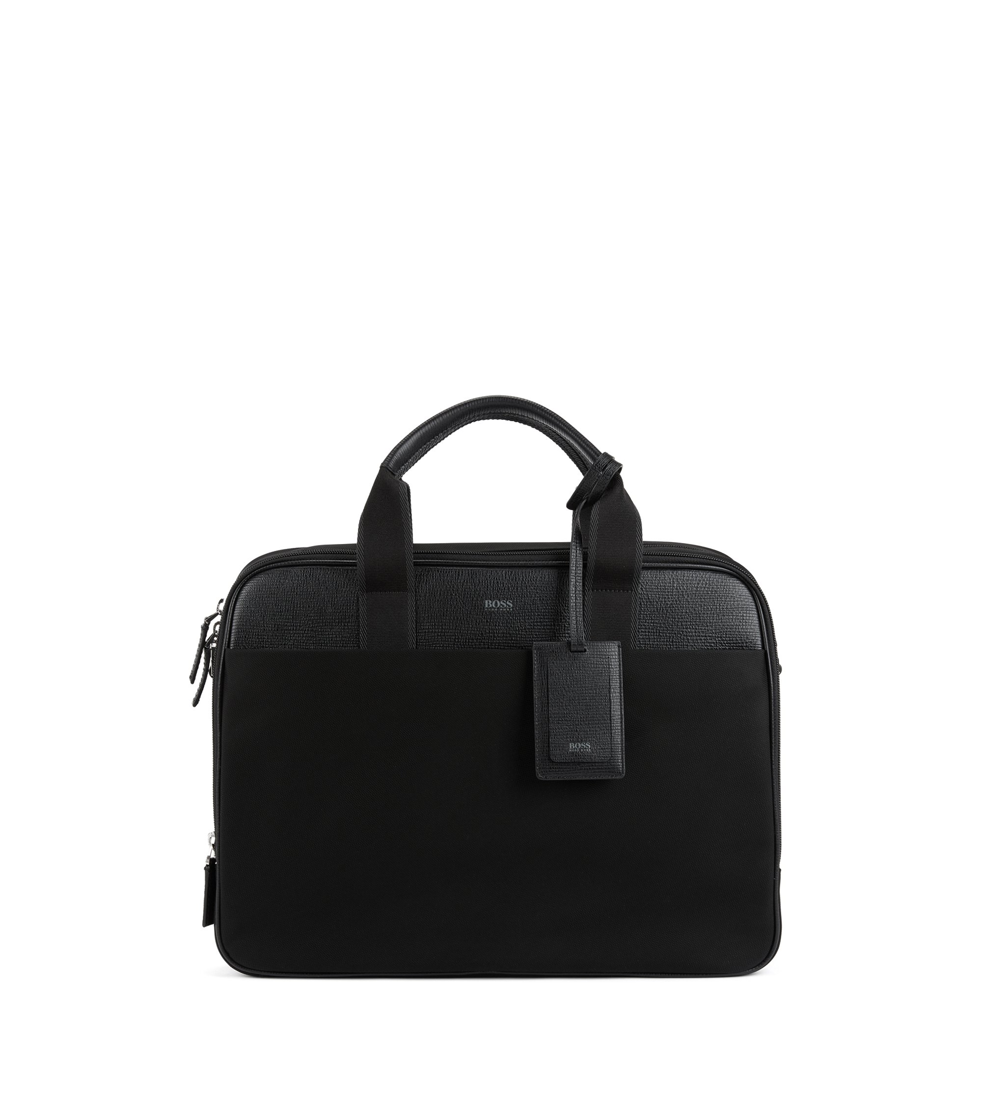 Double document case with trims in Italian leather, Black