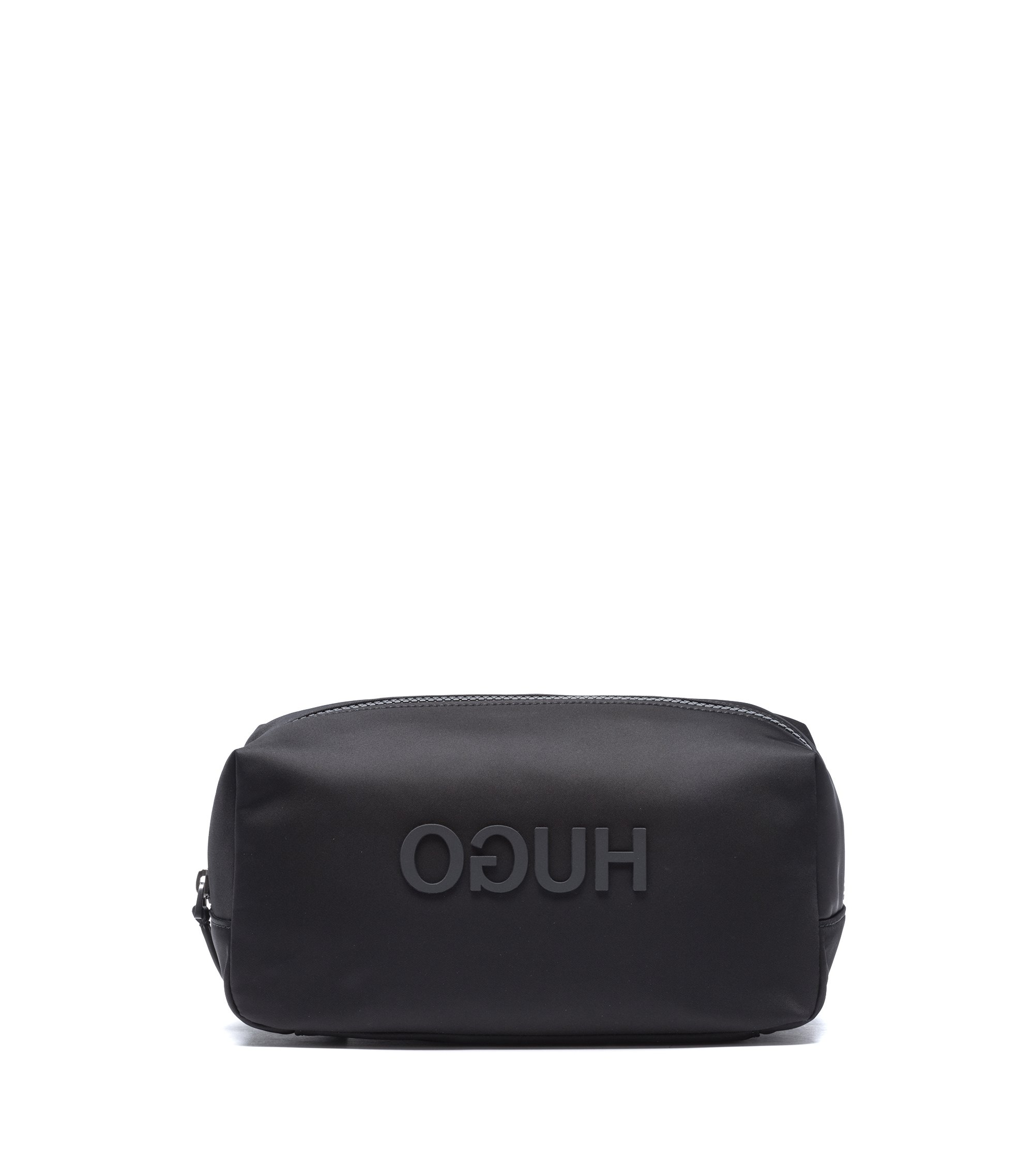 Washbag in nylon gabardine with rubberised reverse logo, Black