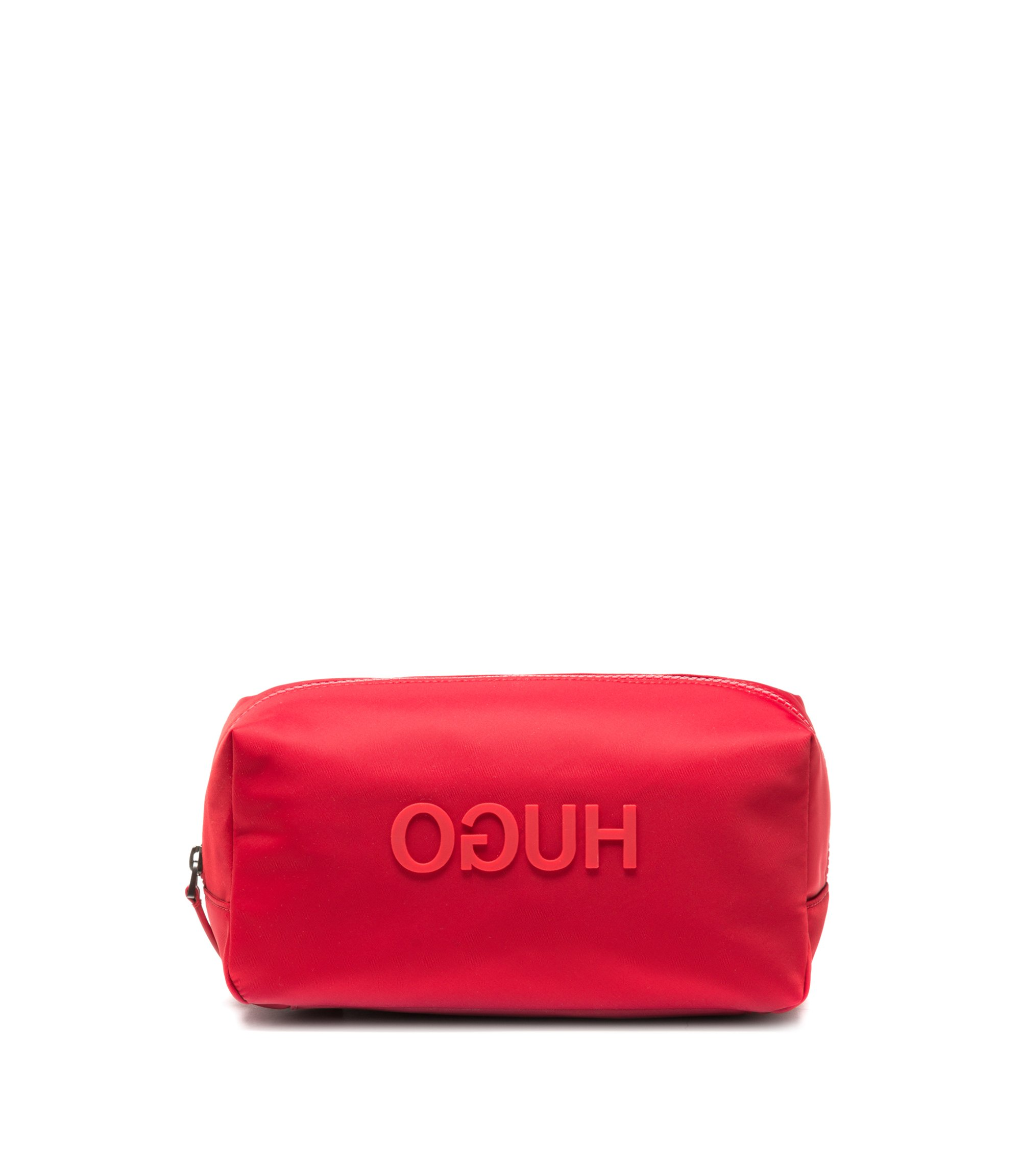 Washbag in nylon gabardine with rubberised reverse logo, Red