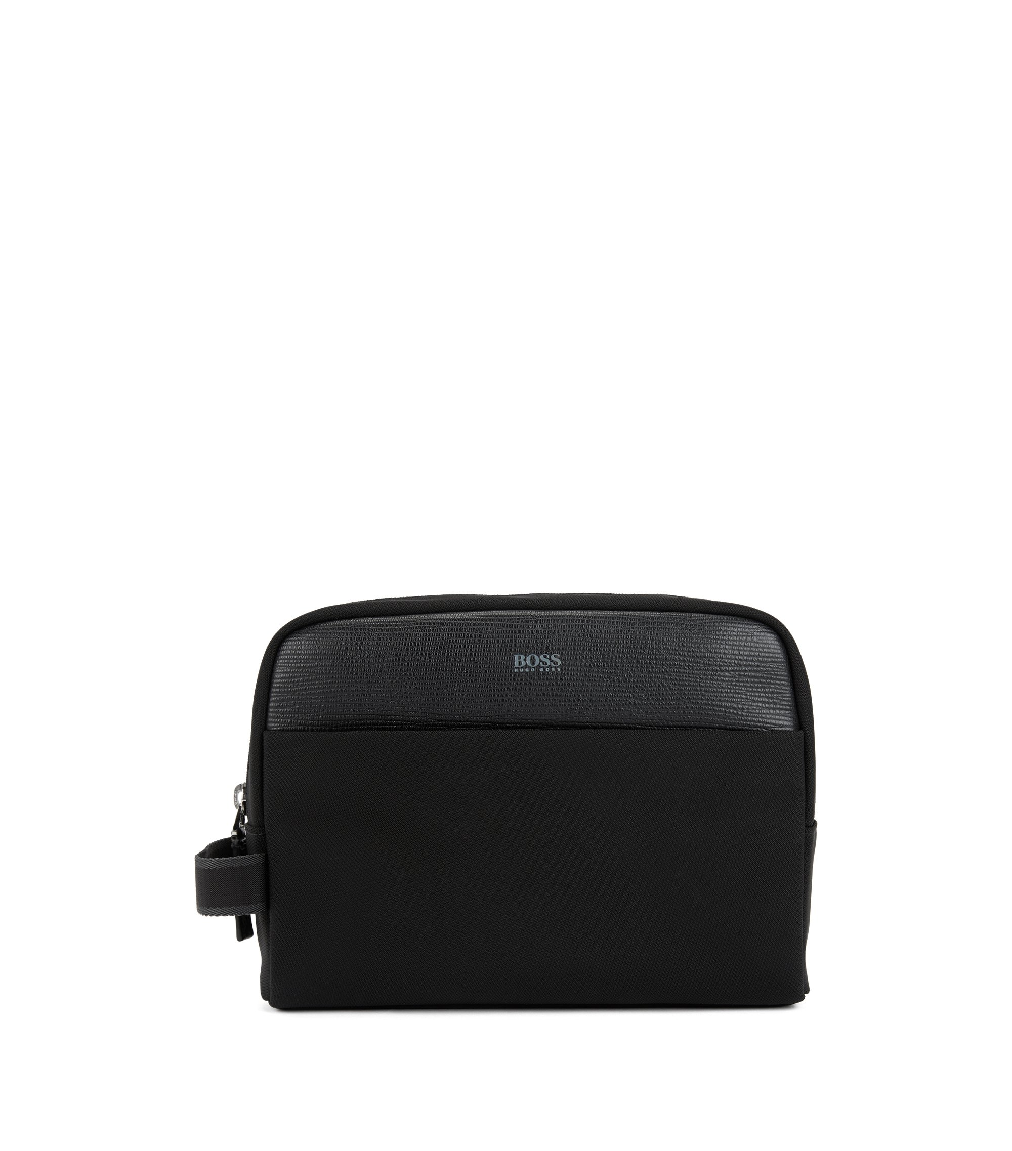 Washbag in structured nylon with Italian-leather trims, Black