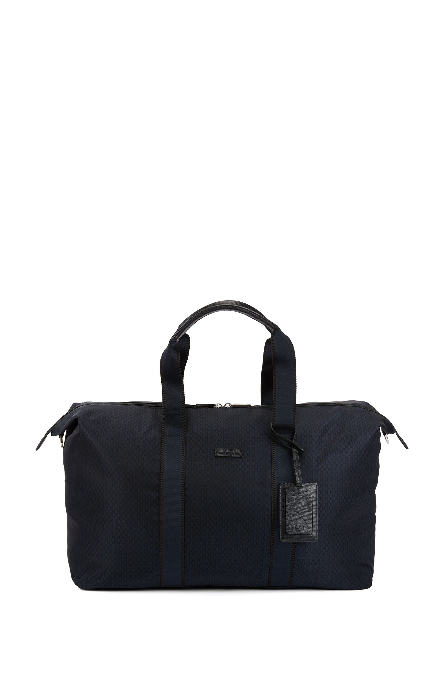 Holdall with all-over monogram print and leather trims, Patterned