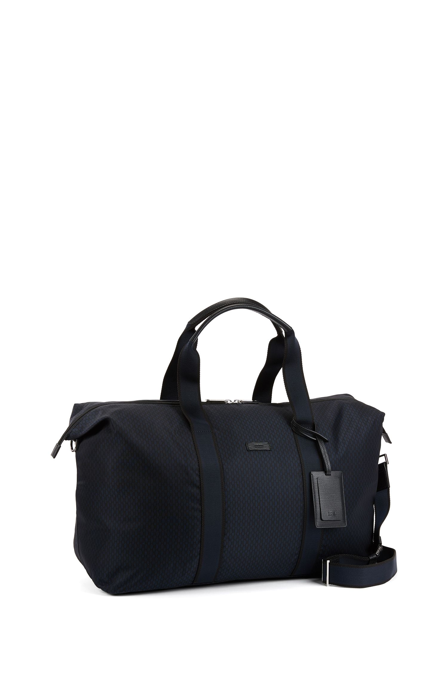 Holdall with all-over monogram print and leather trims