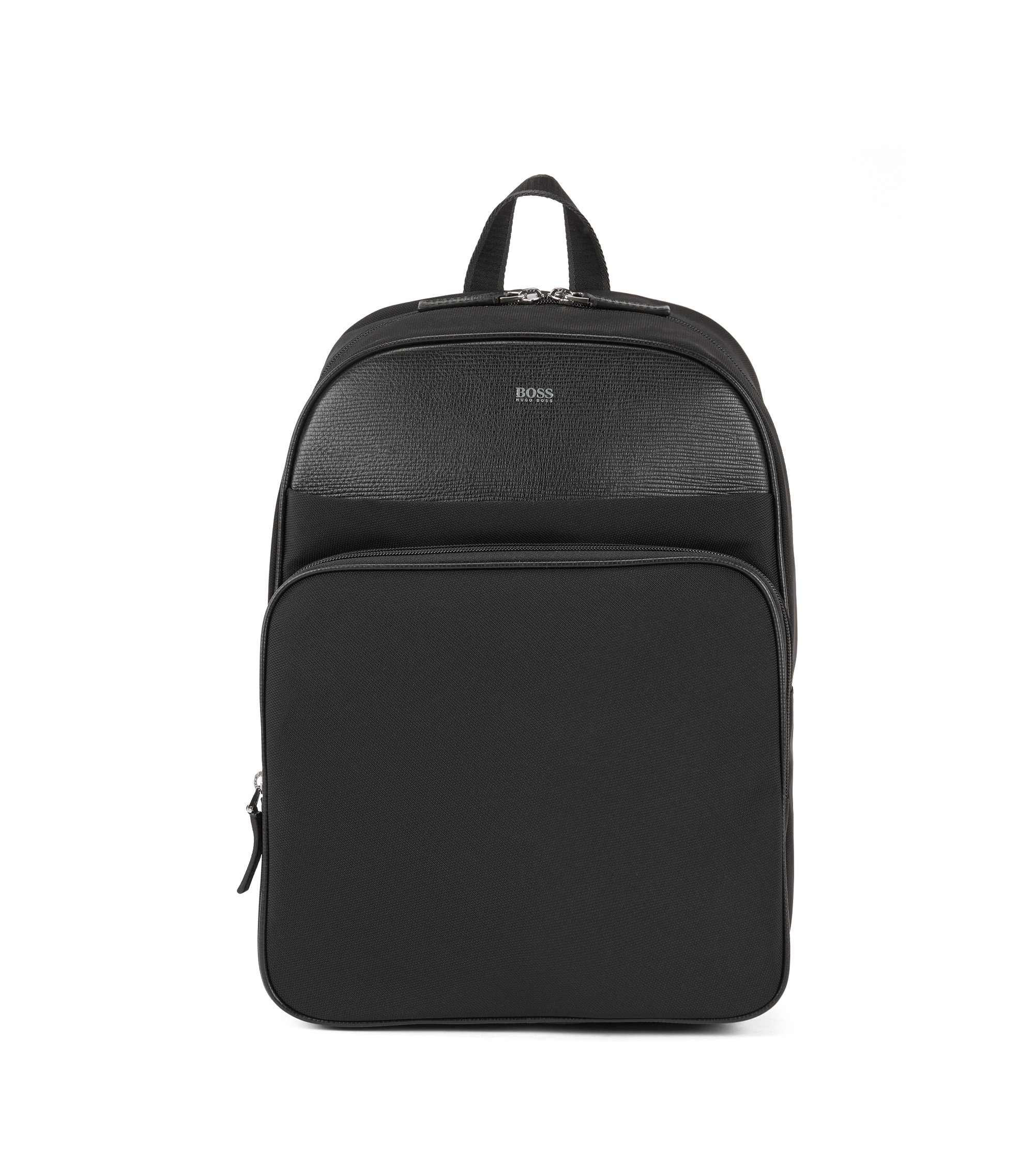 Structured-nylon backpack with calf-leather trims, Black