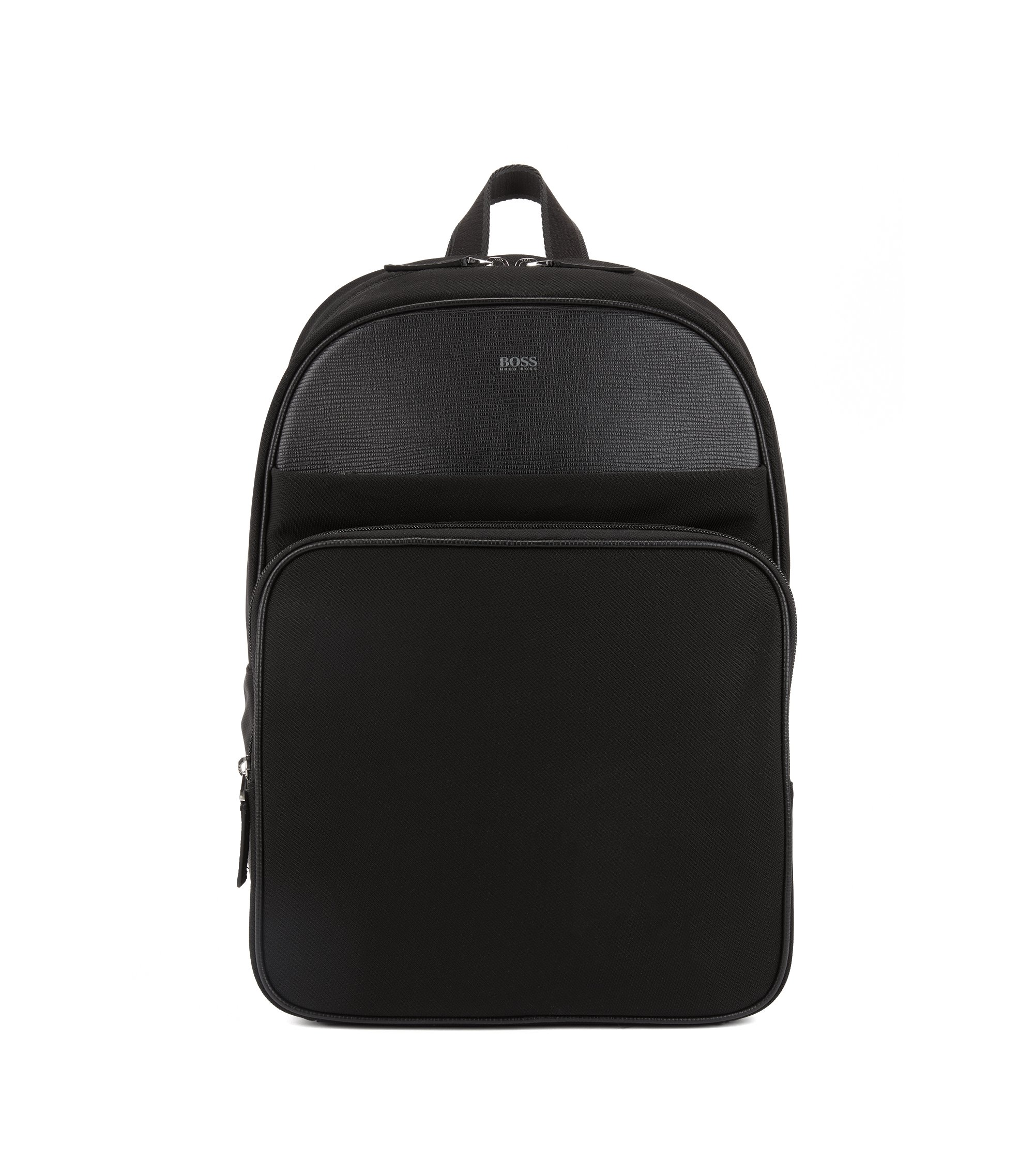 Rucksack aus strukturiertem Nylon mit Leder-Details, Schwarz