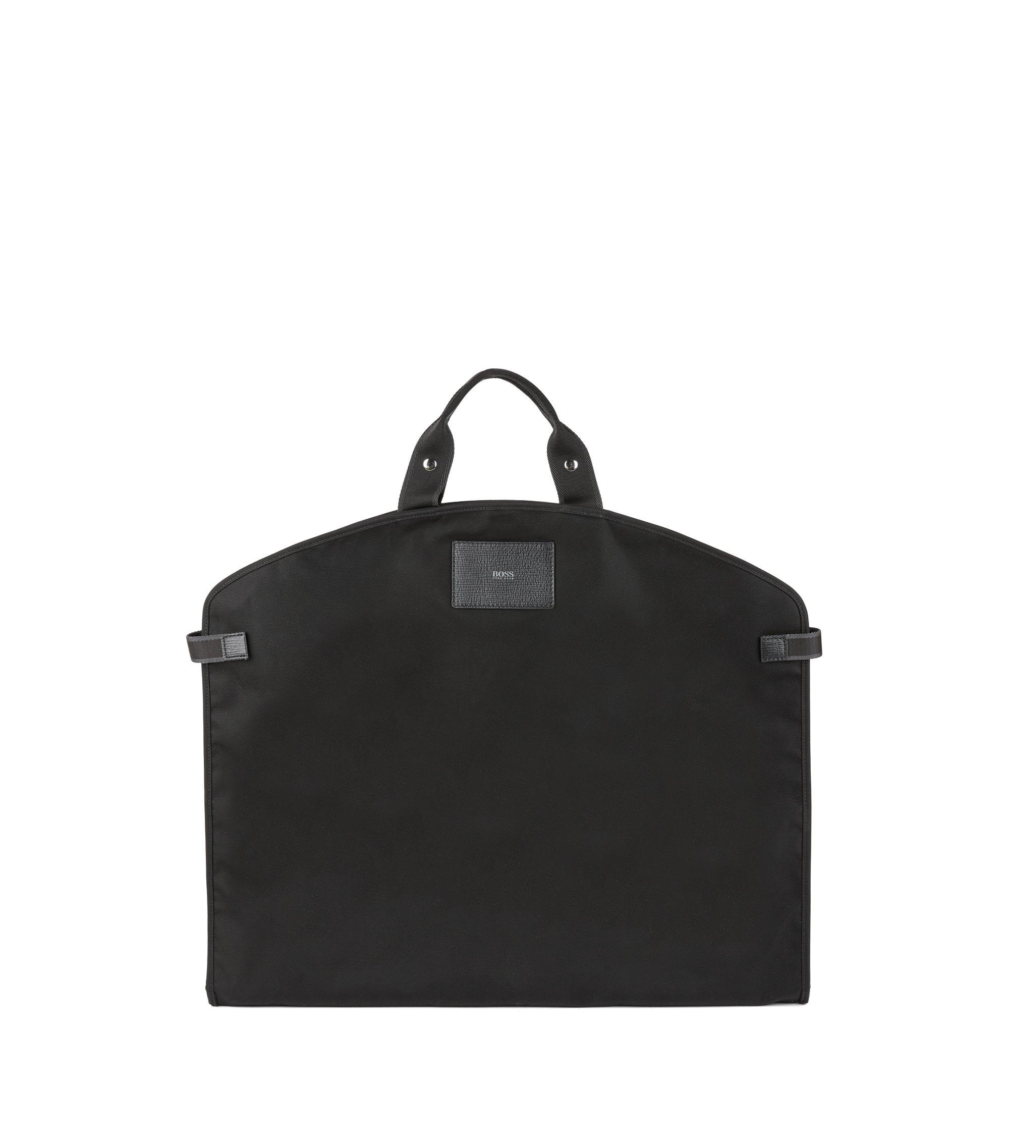 Nylon garment bag with Italian calf-leather trims, Black