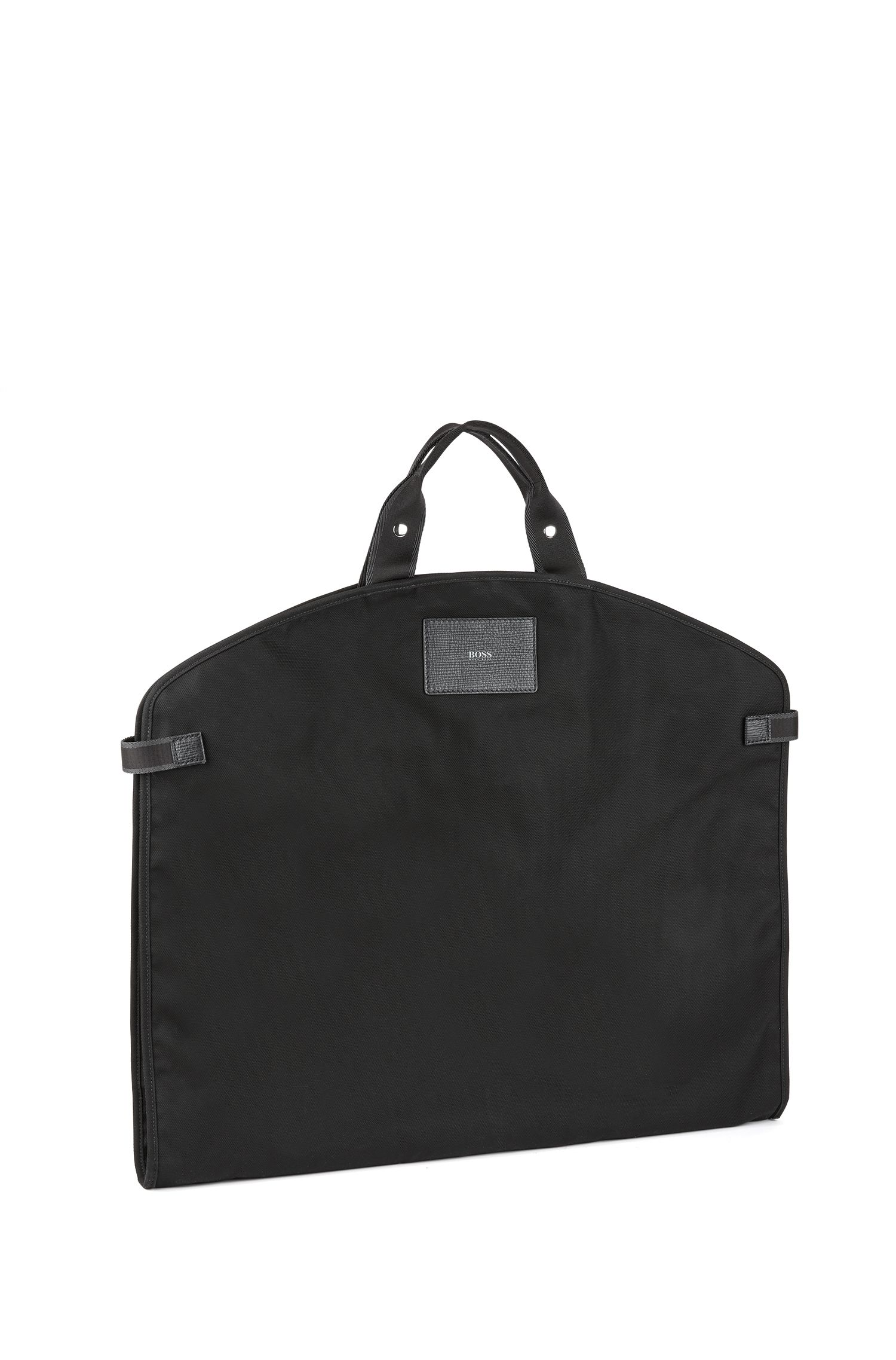 Nylon garment bag with Italian calf-leather trims, Black