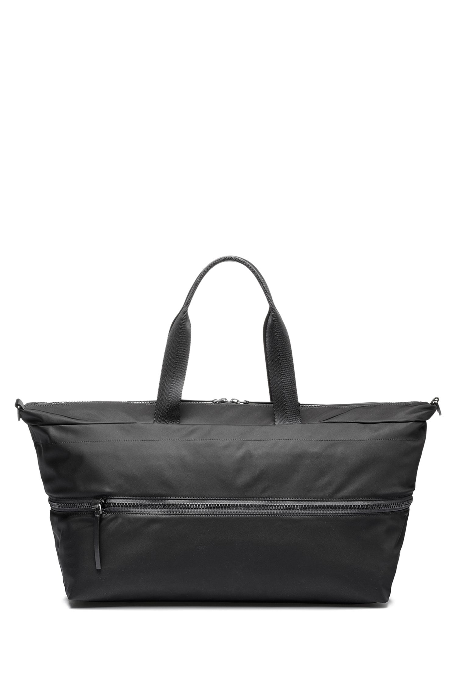 Expandable holdall in nylon gabardine with reverse logo, Black