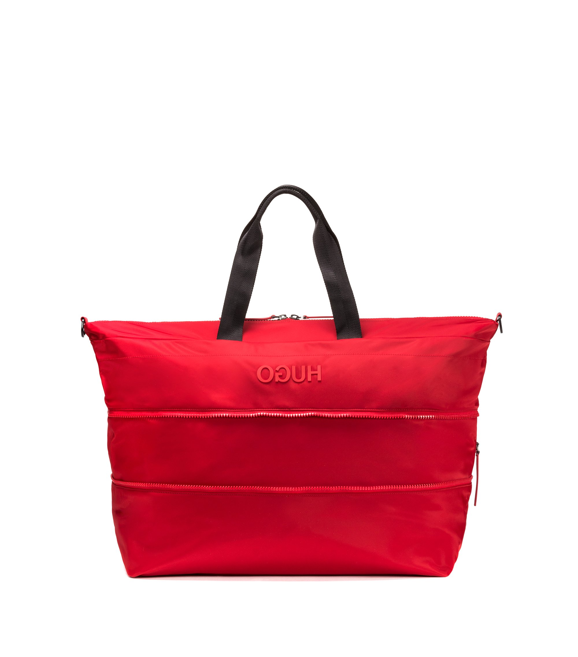 Expandable holdall in nylon gabardine with reverse logo, Red
