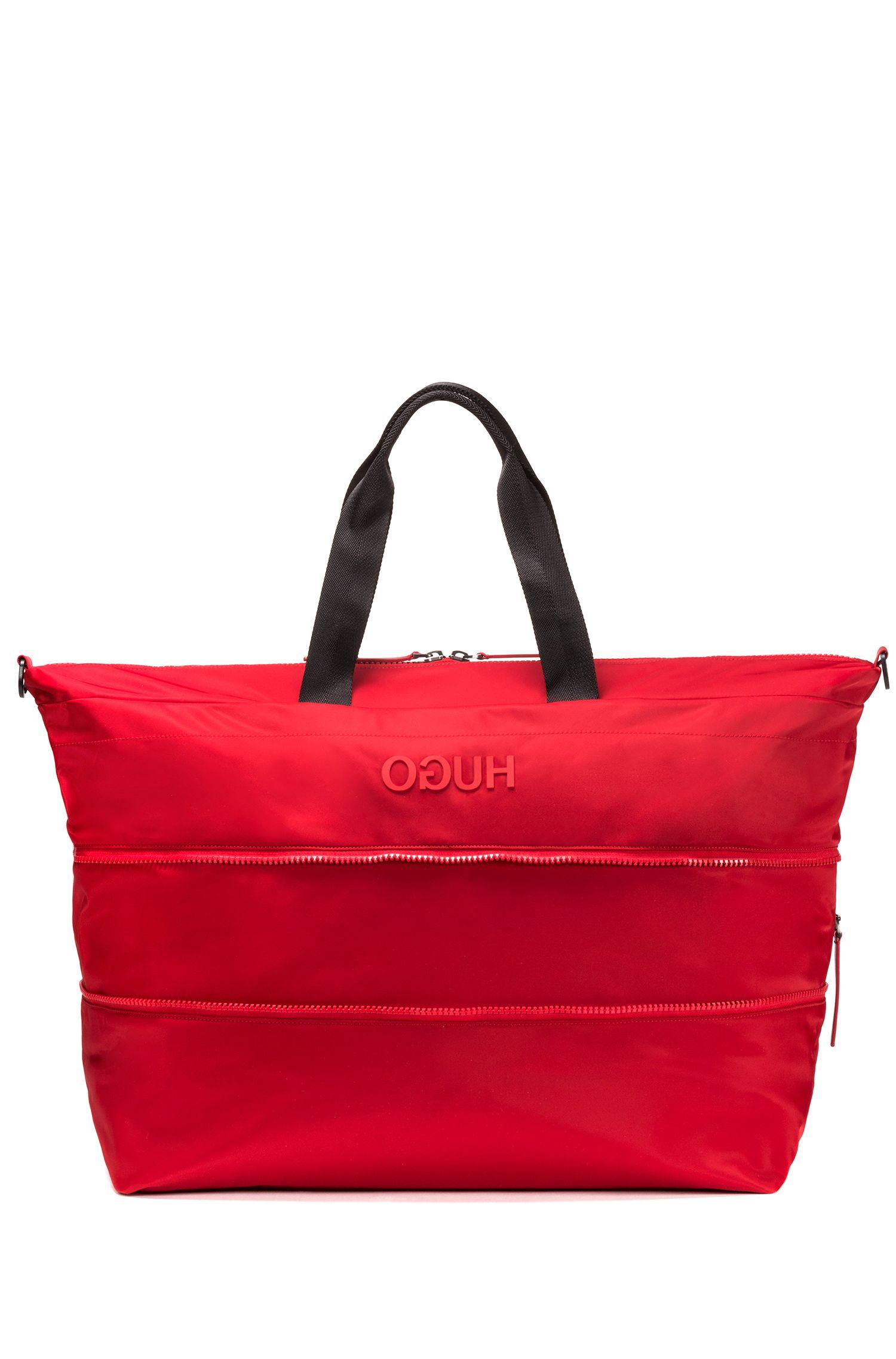 Erweiterbarer Weekender aus Nylon-Gabardine mit Reversed-Logo, Rot