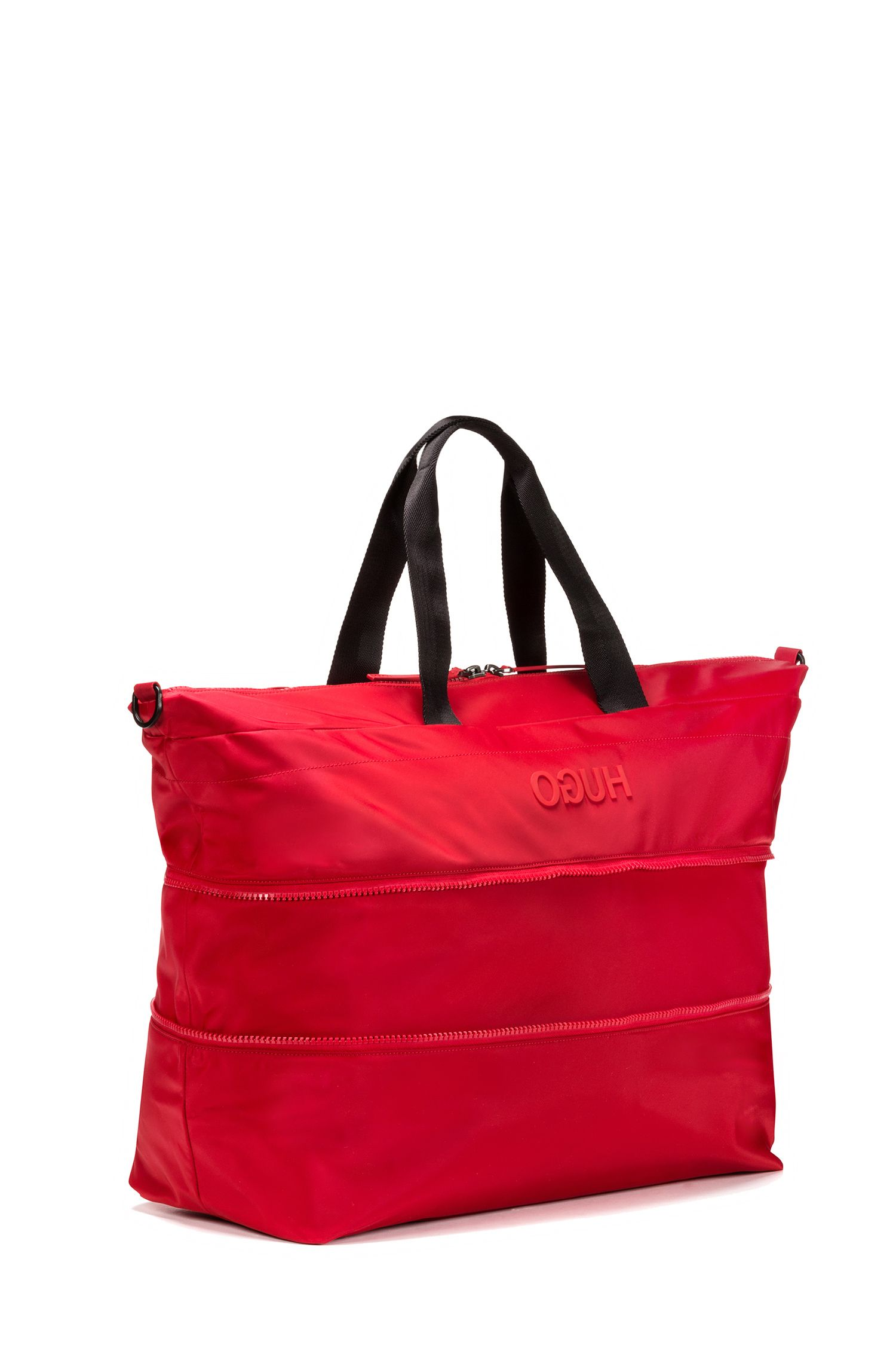 Expandable holdall in nylon gabardine with reverse logo