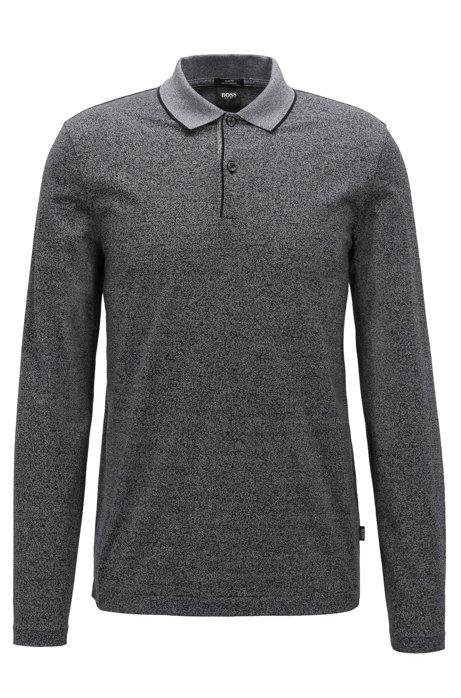Longsleeve-Poloshirt aus merzerisierter Mouliné-Baumwolle, Schwarz